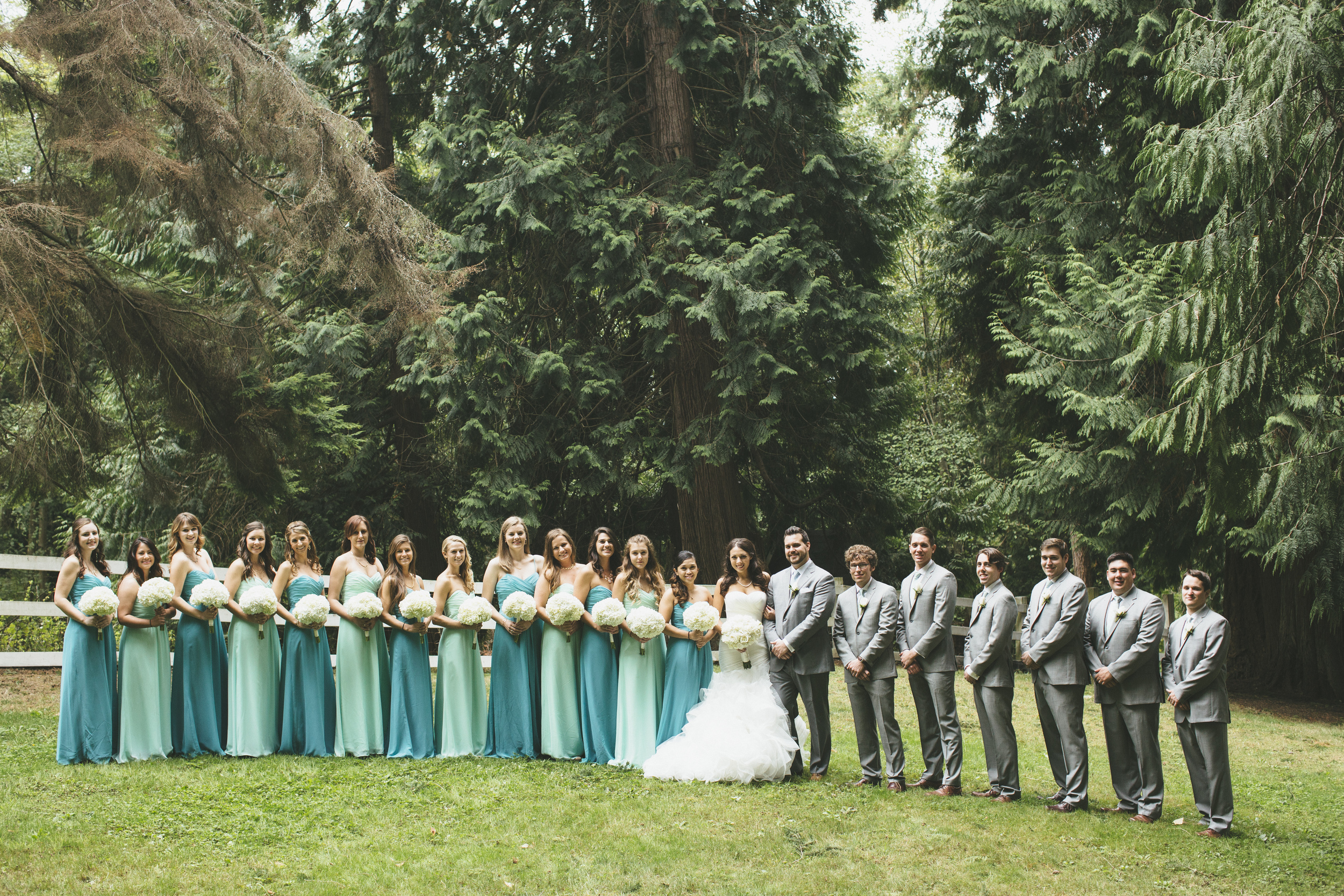 Teal and Gray Wedding Party Attire
