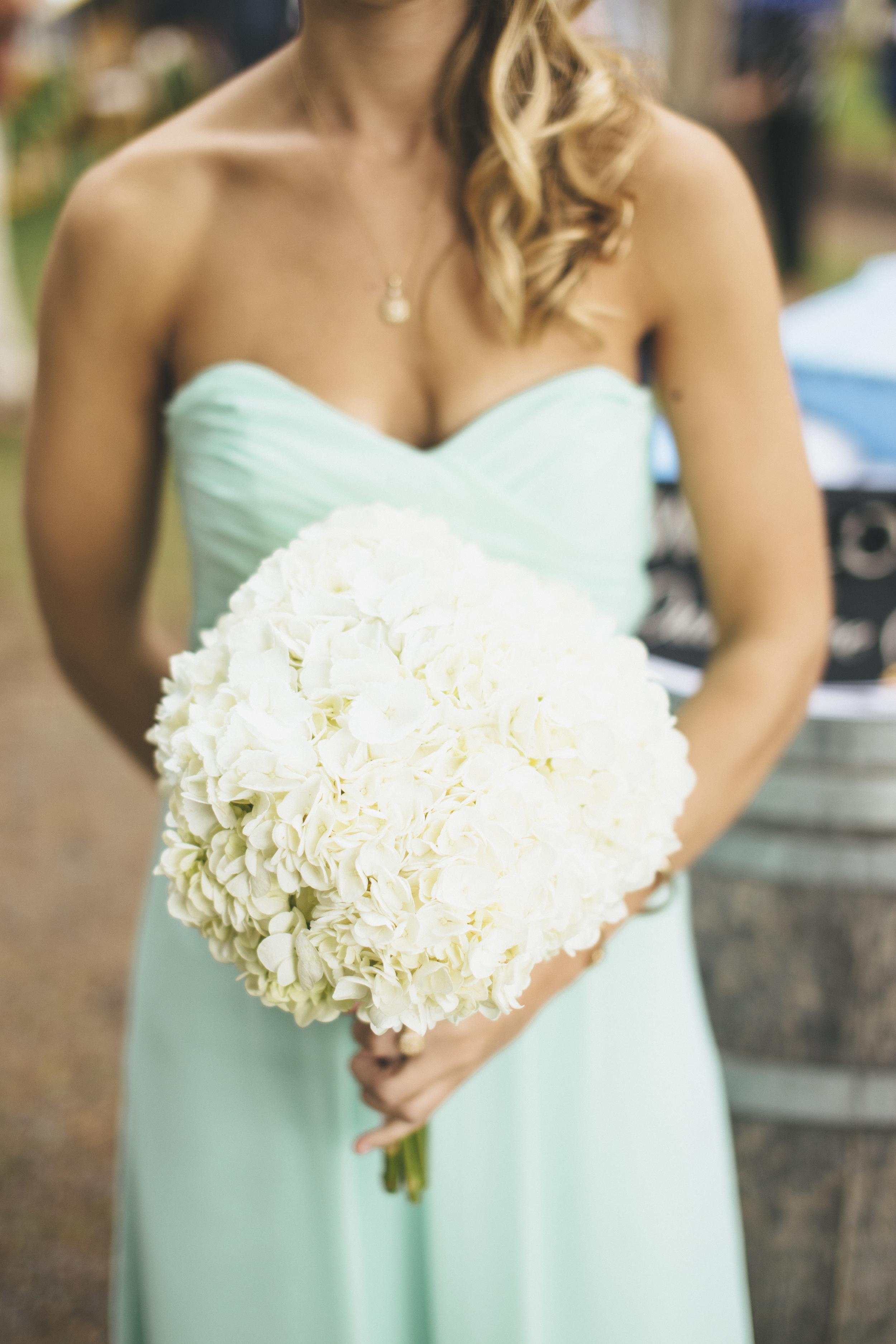 White Hydrangea Bridesmaid Bouquet