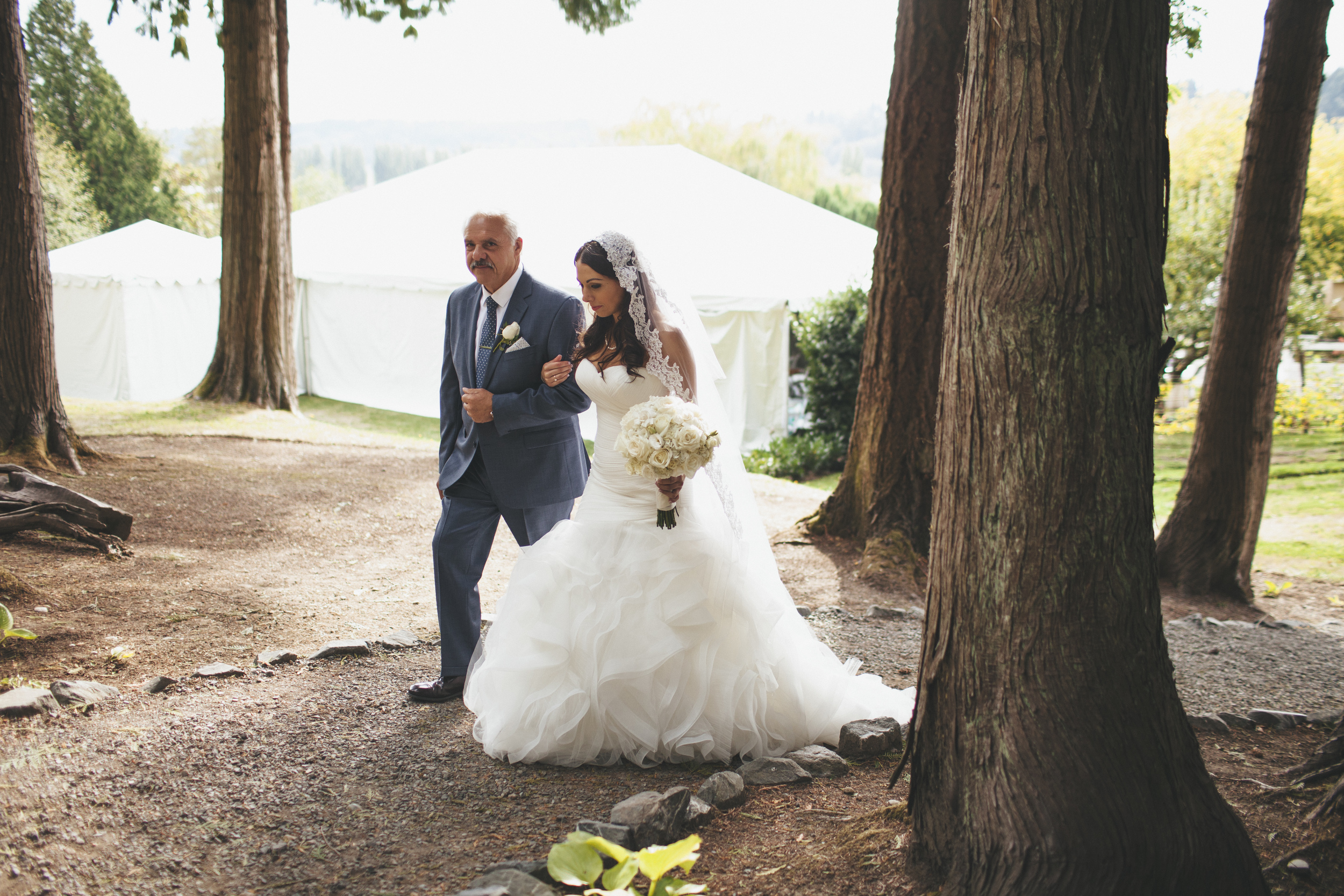 Ruffled Mermaid Wedding Gown with Cathedral Veil