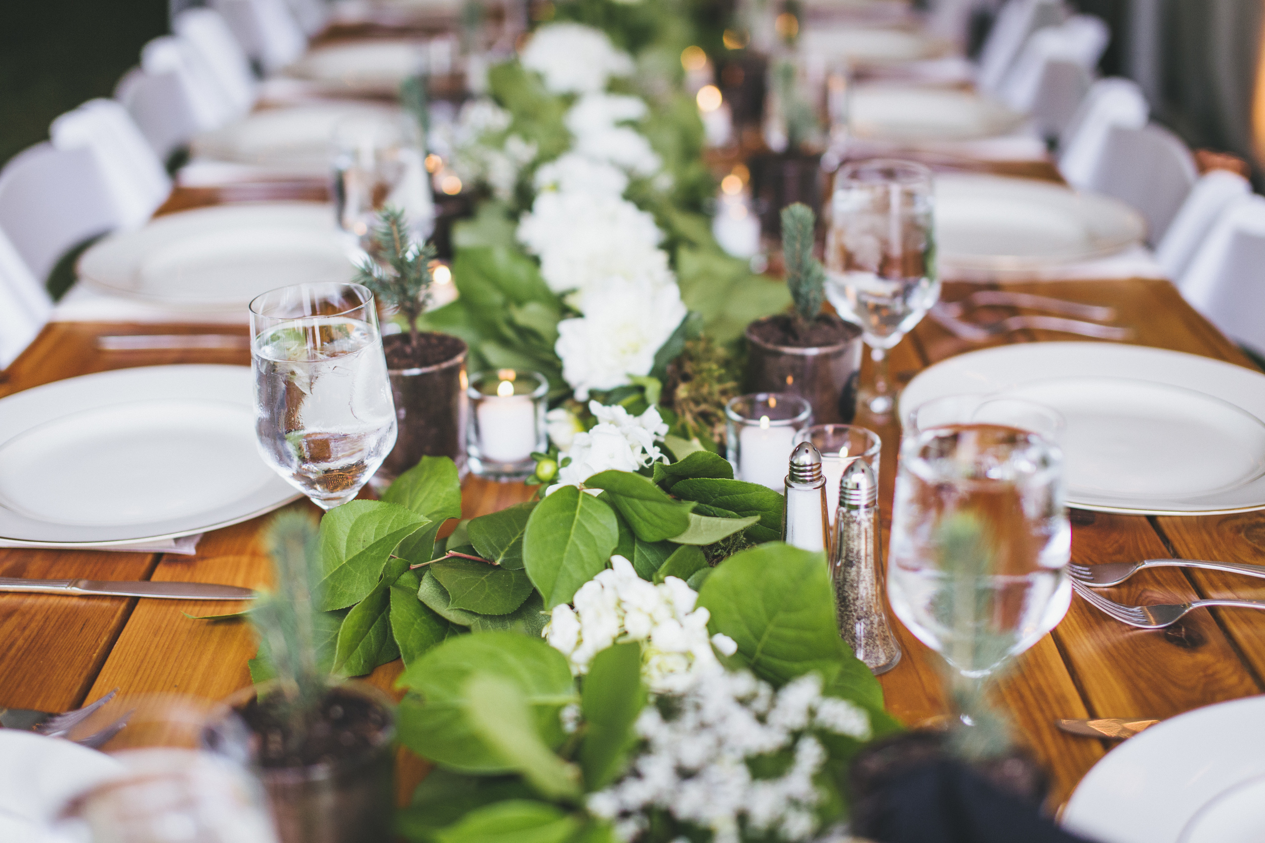 Farm Table Wedding with Teal and Green