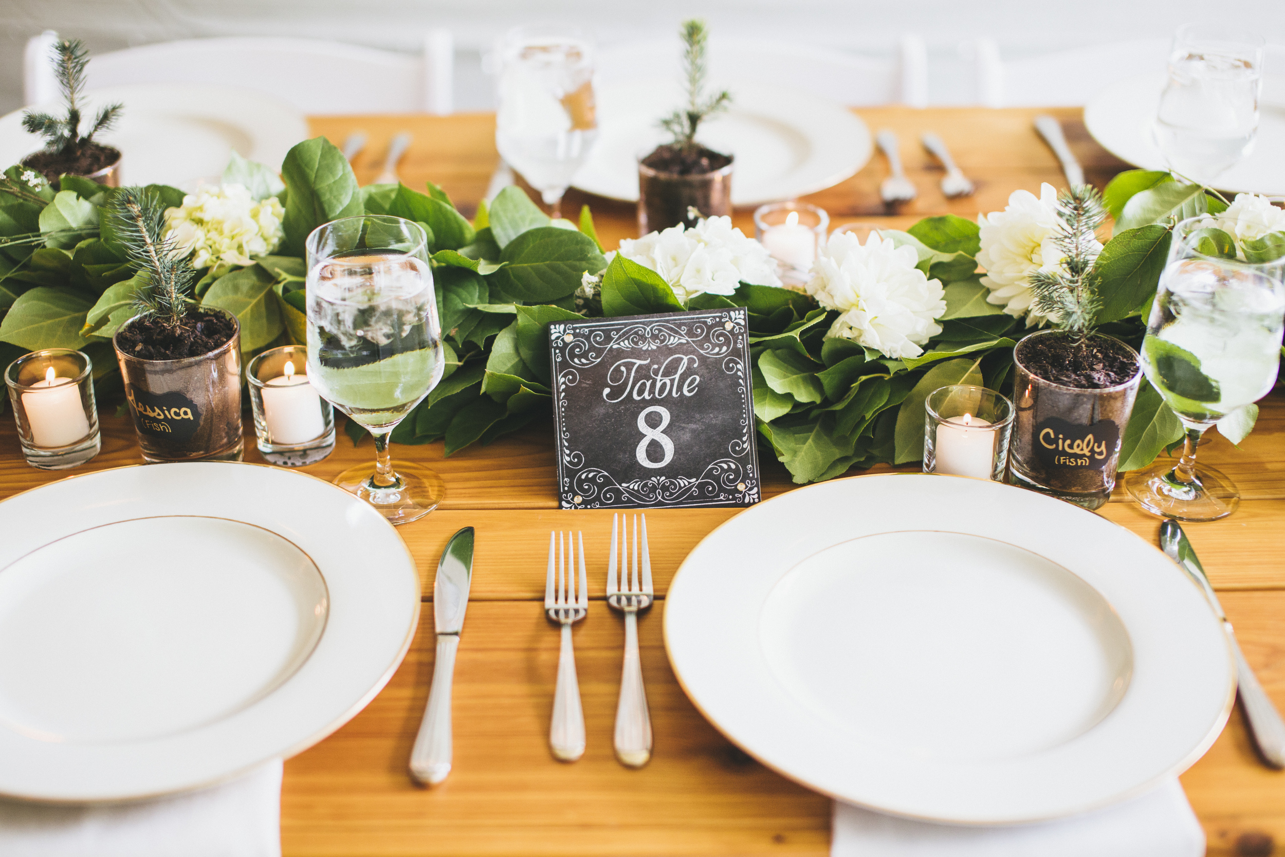 Garland Table Runner in Teal and Green DeLille Cellars Wedding