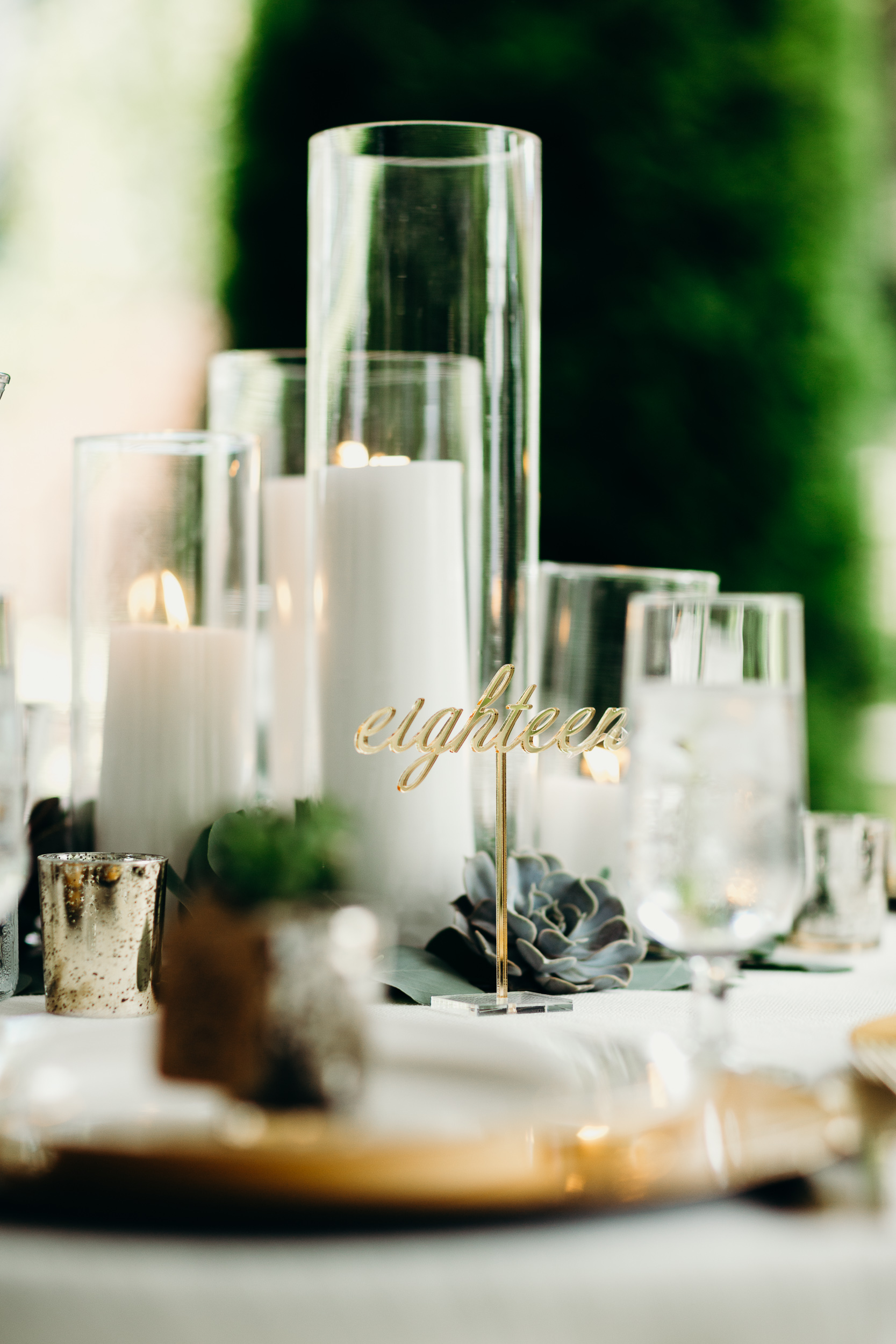Candle Wedding Centerpiece with Gold Table Number
