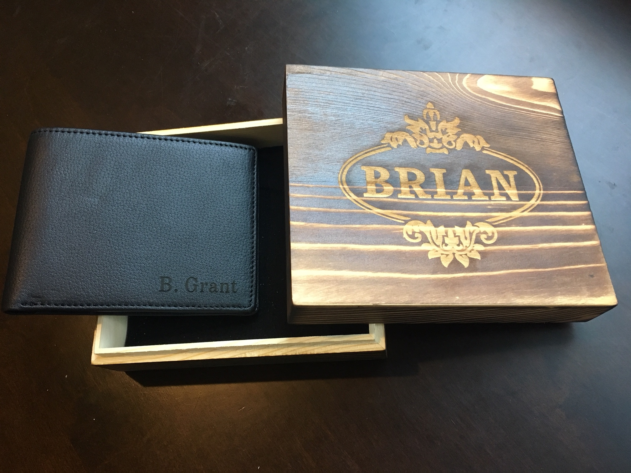 Customized engraved wooden display box with custom wallet by  GroovyGuyGifts.com