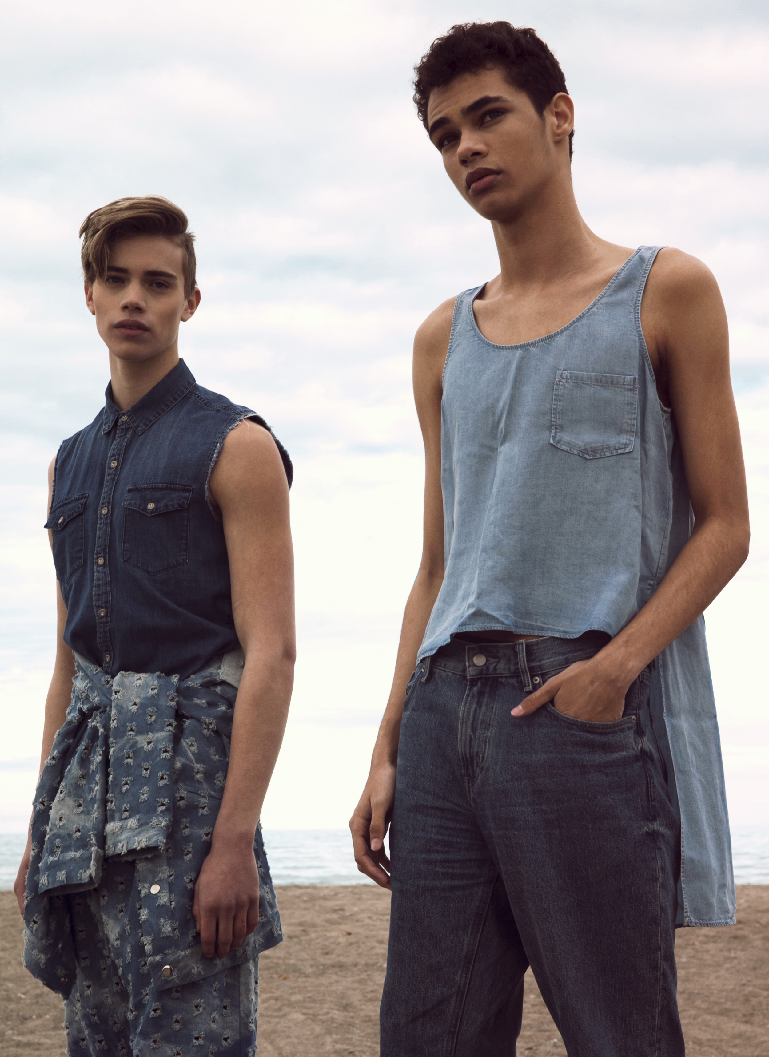 On Tannor: denim shirt DIESEL, denim jacket and trousers ANDREW COIMBRA  On Ty: denim tank DIESEL, jeans ACNE