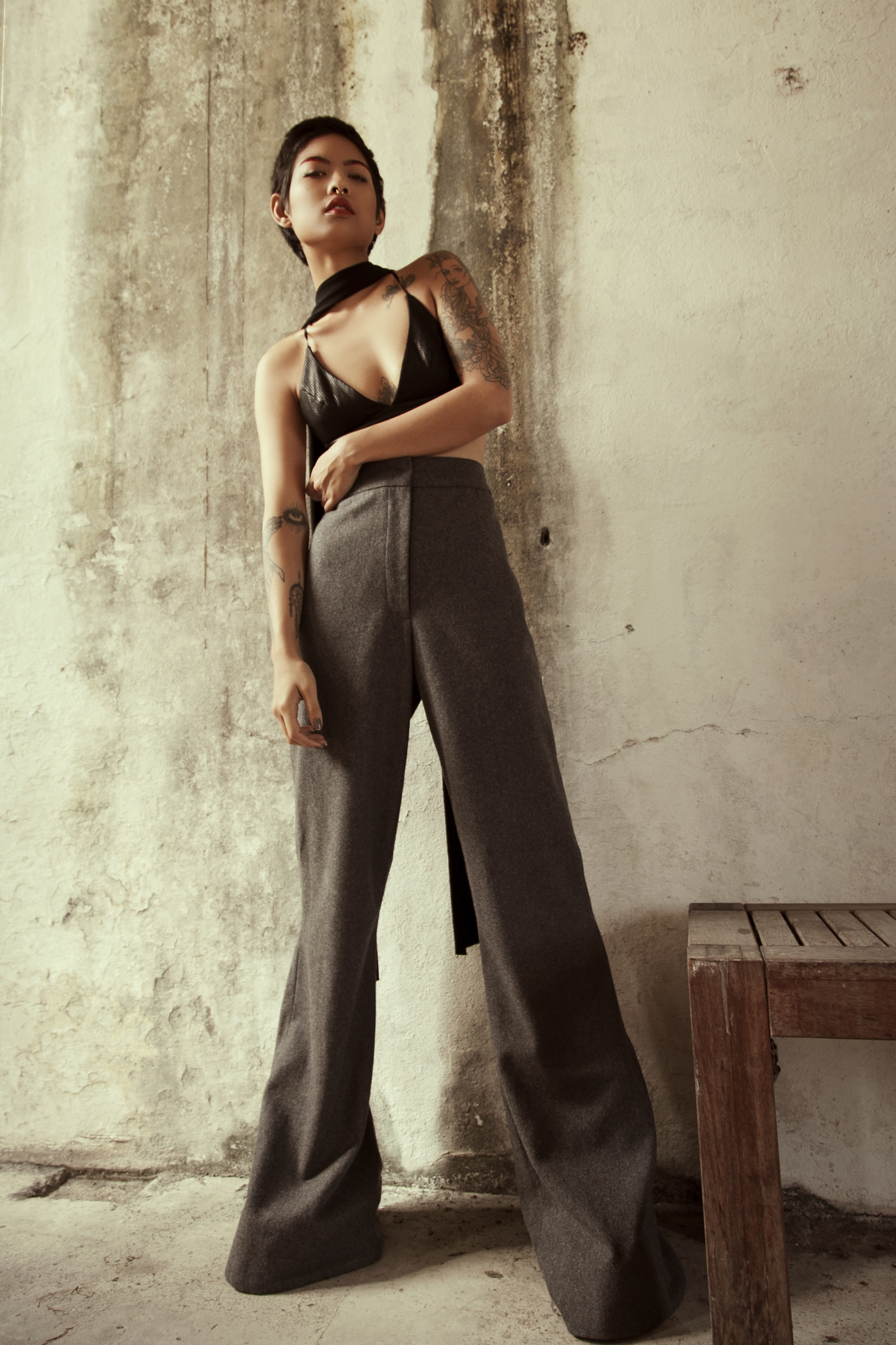 Bralette –Kaliver  Pants –Grammar  Shoes -Jeffery Campbell