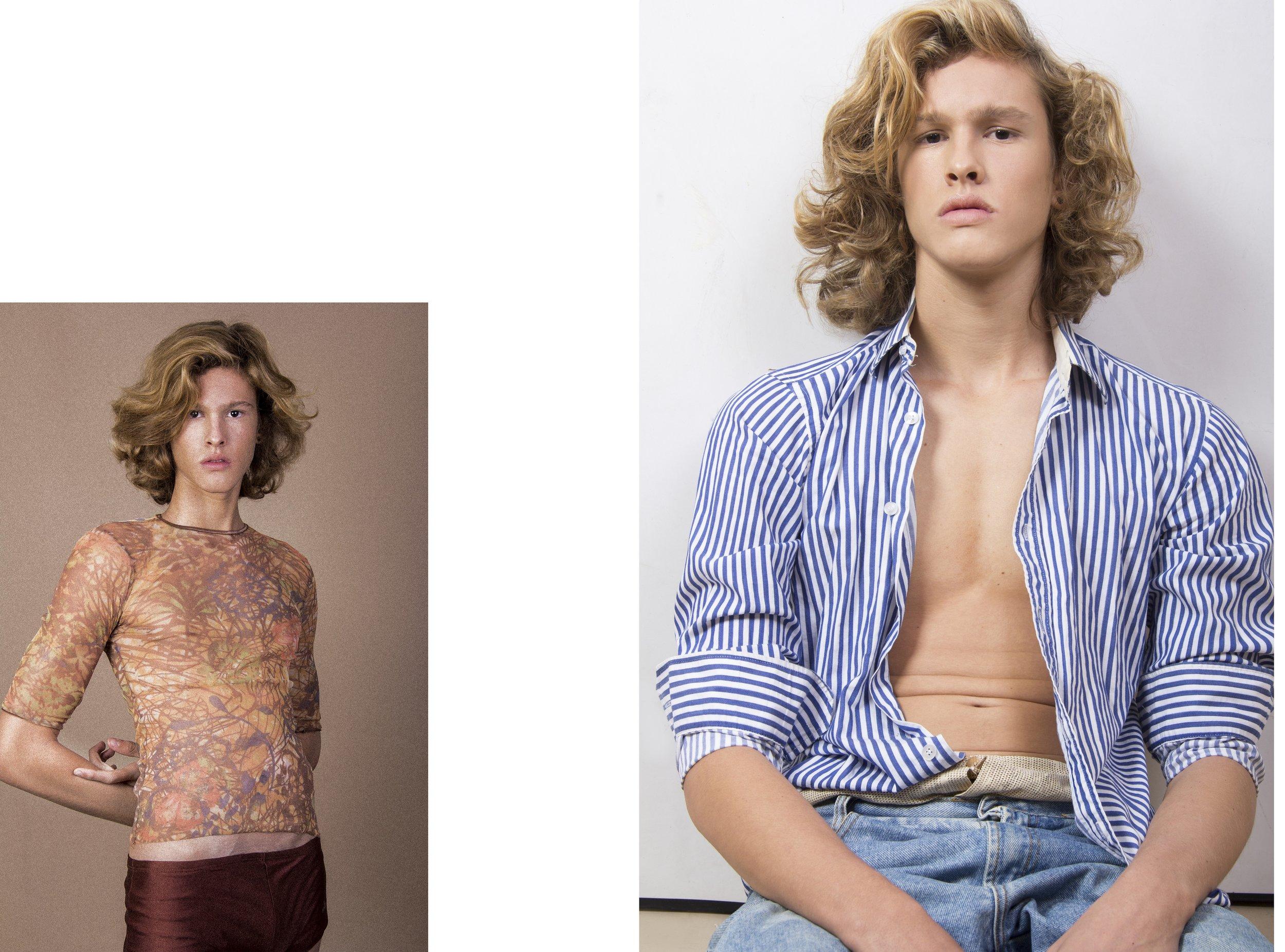 Esquerda: Cueca marrom Lanvin,blusa transparente acervo.    Direita: Camisa listrada C&A,calça jens acervo,cueca Lupo.