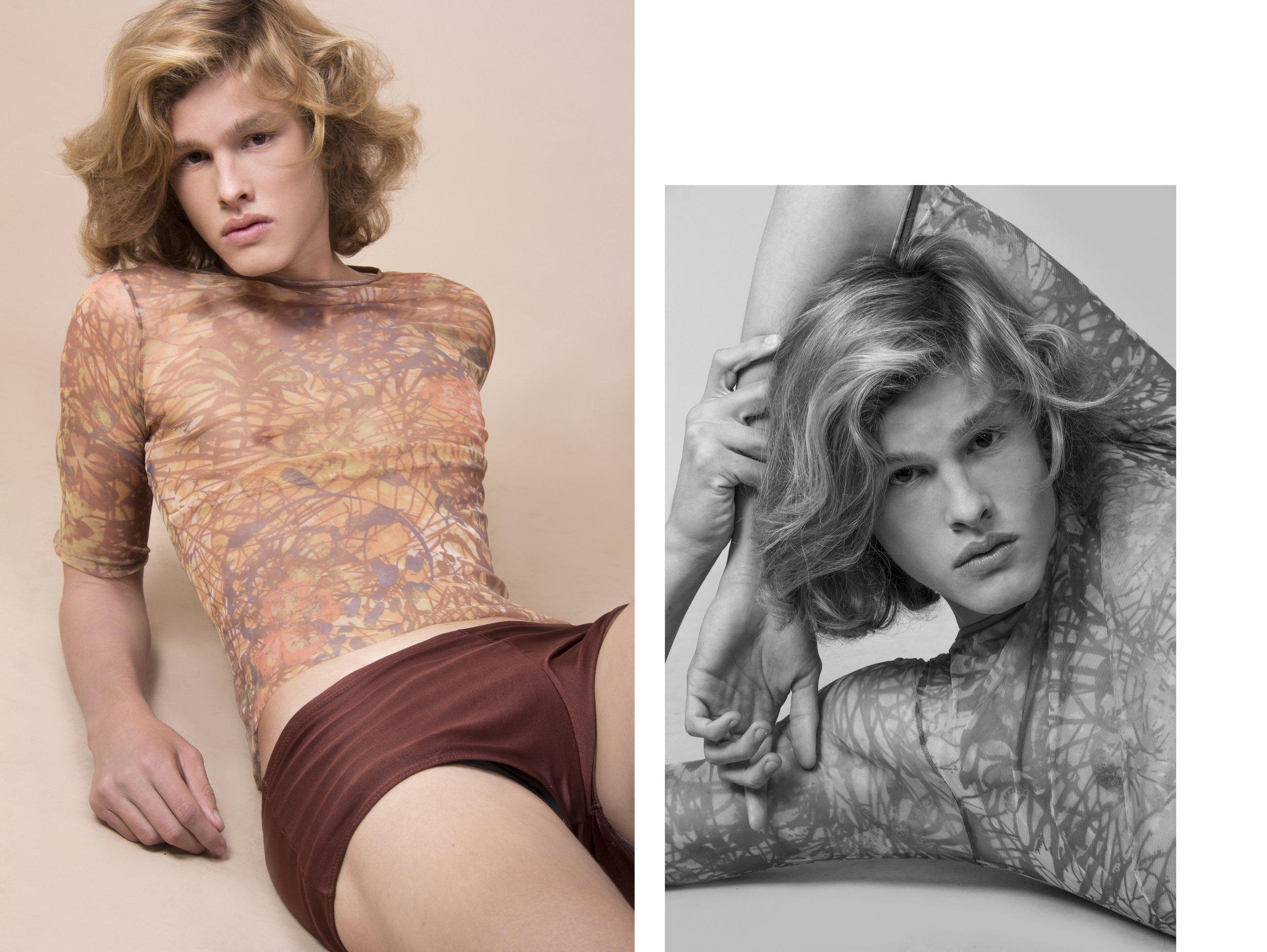 Cueca marrom Lanvin,blusa transparente acervo.
