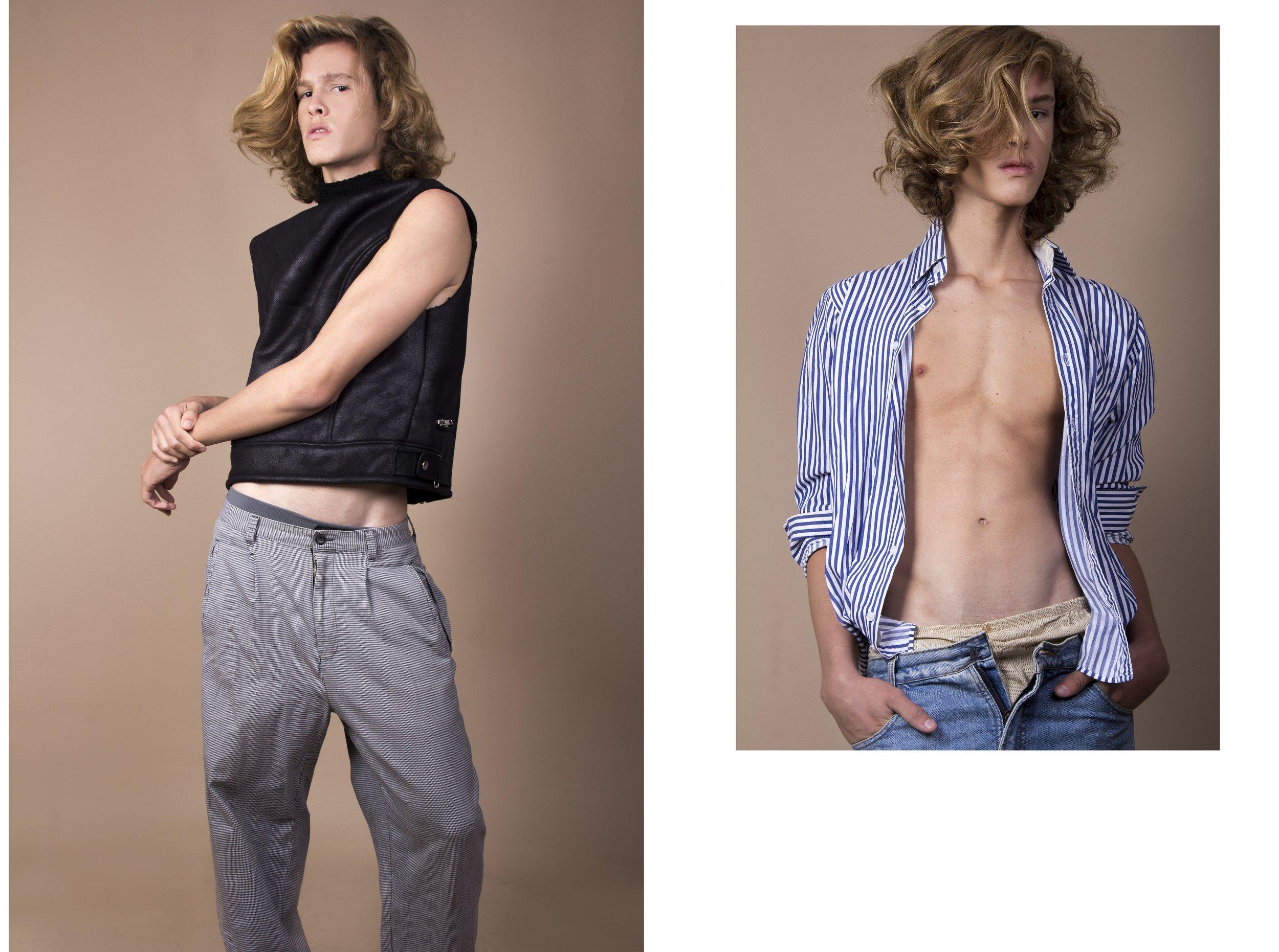 Esquerda: Calça Hugo Boss,colete Forever21.    Direita: Camisa listrada C&A,calça jens acervo,cueca Lupo.