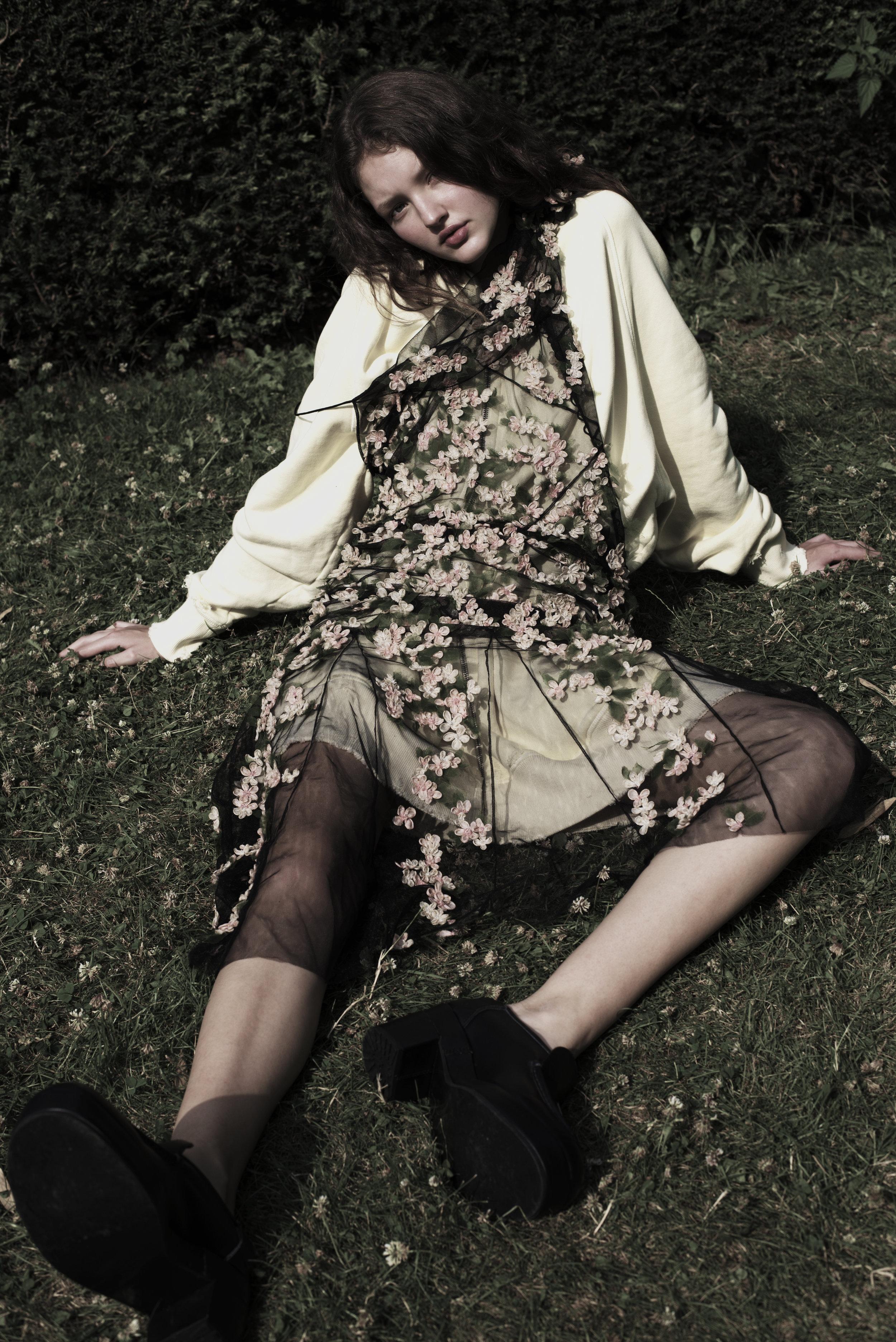 Cotton jumper, Faith Connexion    Tulle and lace dress, John Galliano    Leather mocassins, Julien David