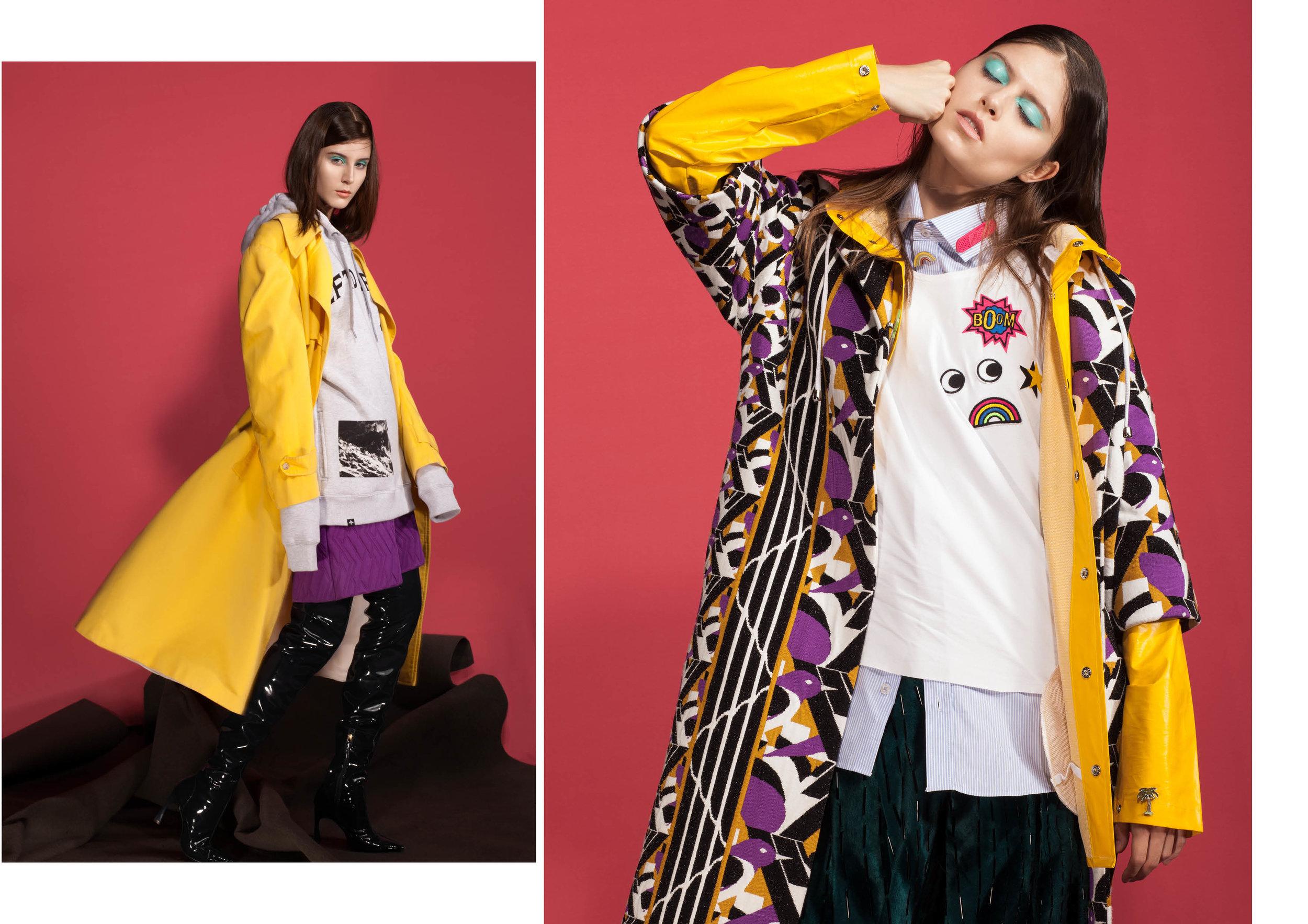 Esquerda: Capa de chuva amarela Cotton Project;Bermuda de tricot GIG; Bota de verniz Tufi Duek;   Moleton LRG.     Direita:  Casaco de tricot GIG;camiseta de algodão Riachuelo;Camisa de algodão Aramis;Calça de veludo bordado Apto 03;Pins de metal ZARA;Pin de Band-aid Vida Bela.