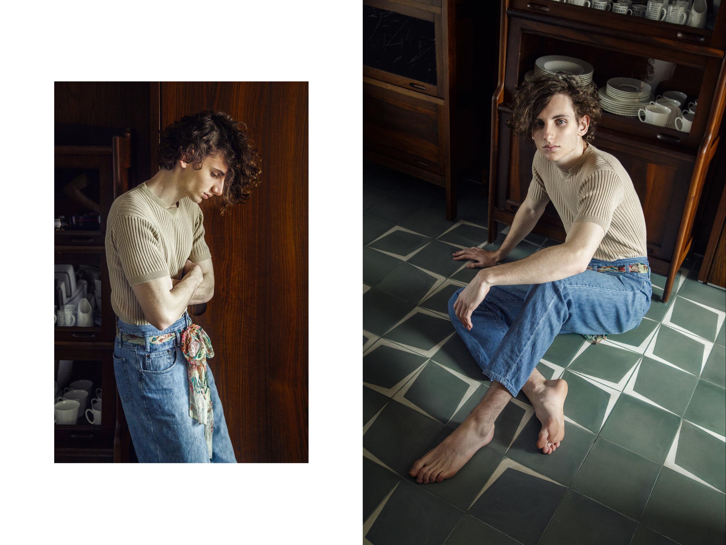 calça New York Line; jeans Beans; lenço acervo