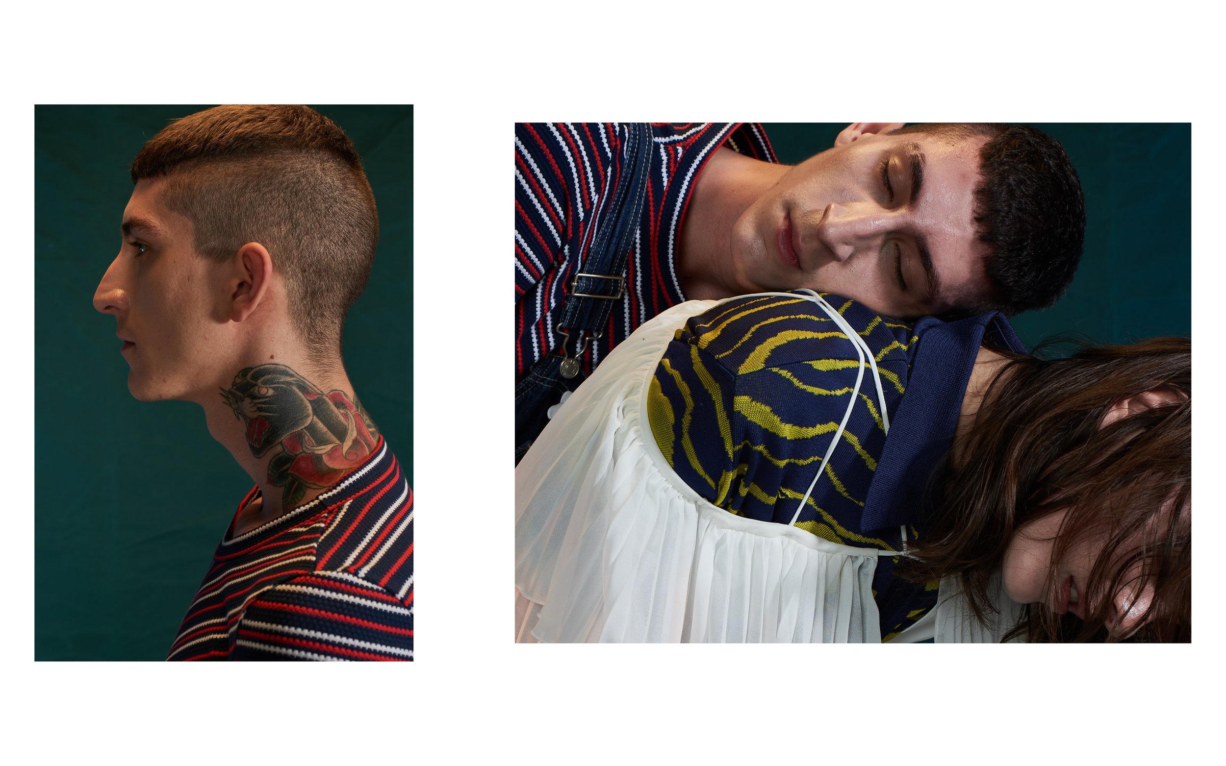 Rick veste Camiseta listrada Malwee e Macacão Brechó Frou Frou  Rebeca veste Blusa polo GIG couture e Blusa plissada C. Club
