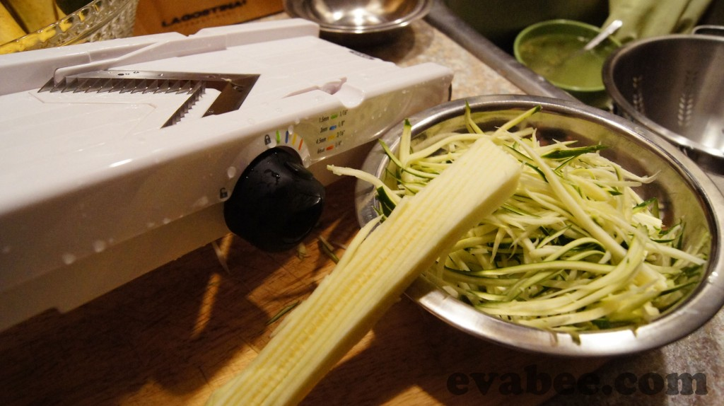 Making 'Zoodles' with a mandolin.