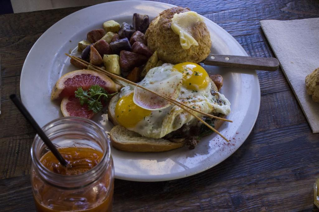 Kobe beef patty, mushrooms, eggs, nap time.