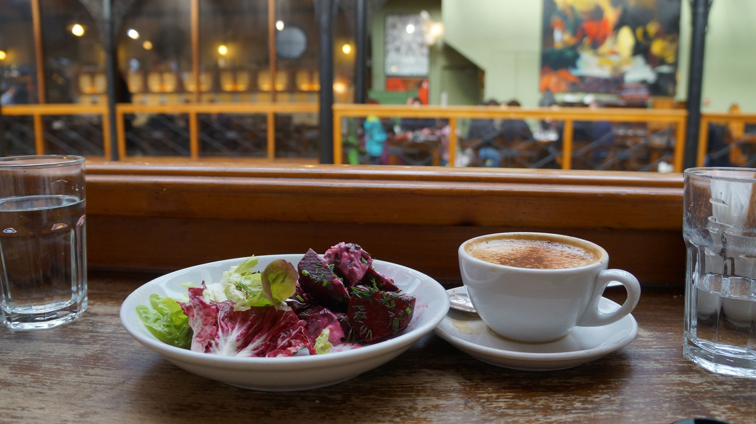 Beautiful cappuccino and beat salad.. waiting for my sandwich. At Farmgate Cafe!
