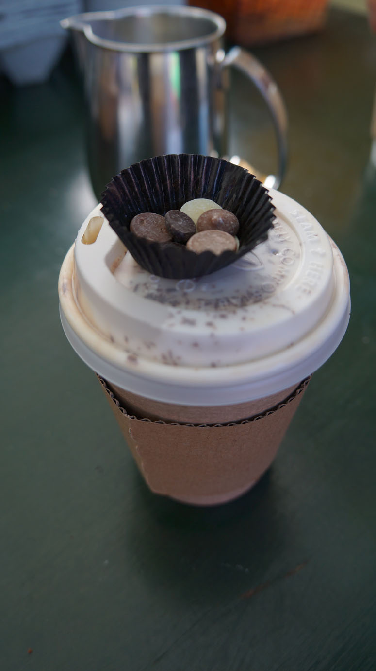 You get locally made chocolate chips with your coffee.. amazing.