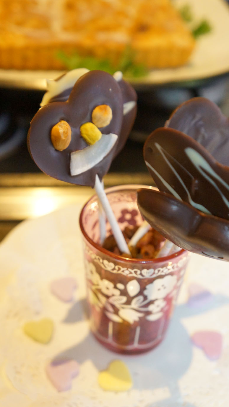 Chocolate lollipops.