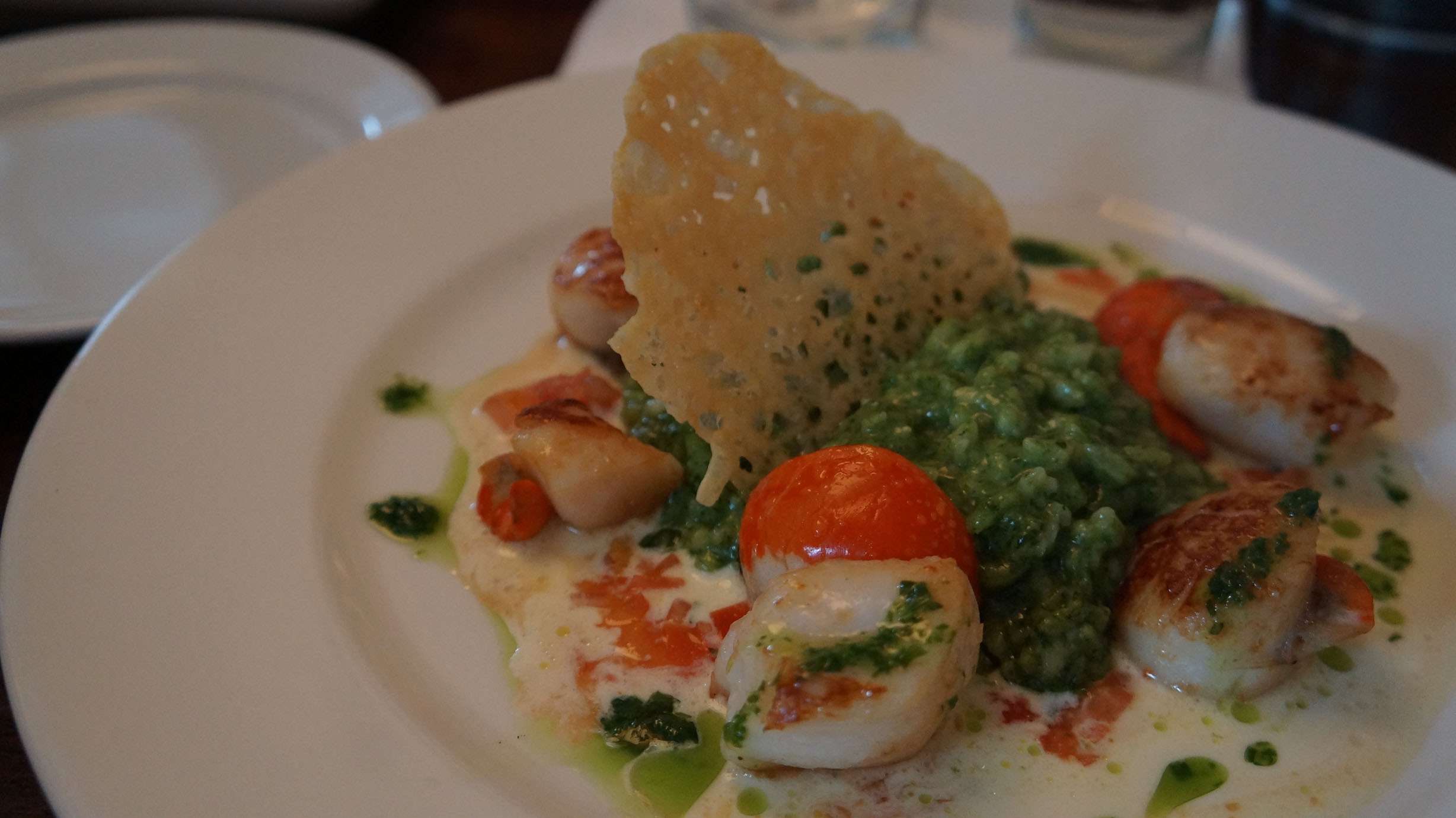 Scallops with Spinach Risotto & Cheese Crisp