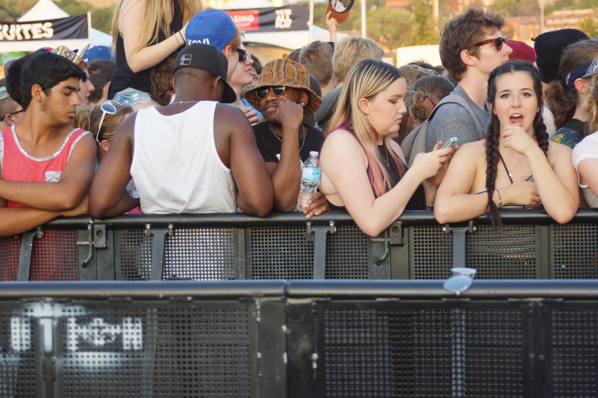 Crowd anticipating Kanye.