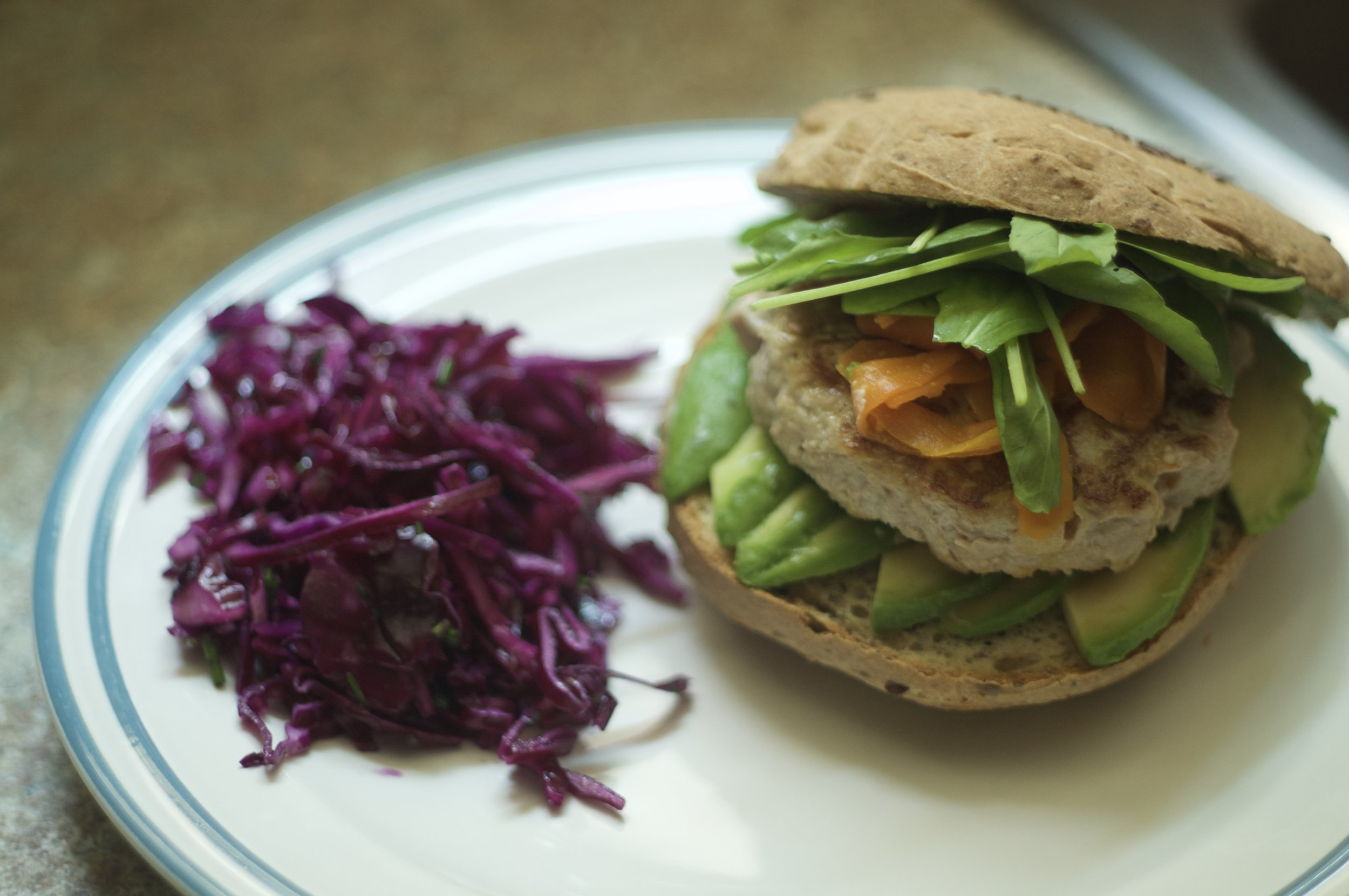 Home made tuna burger with produce & fermented carrots purchased from Laurier Market