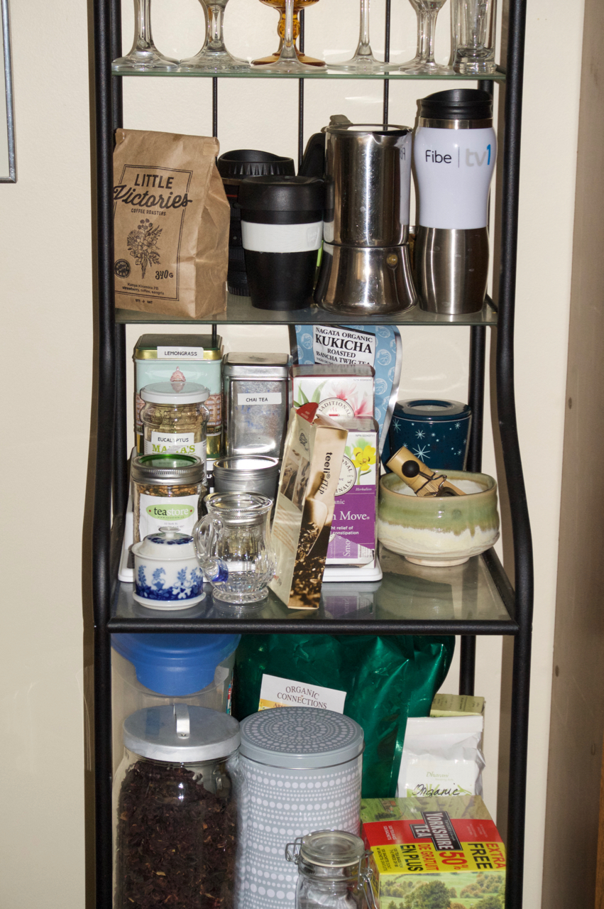 Finished tea and coffee shelf, booze at the bottom. I may buy a cart for this instead one day.