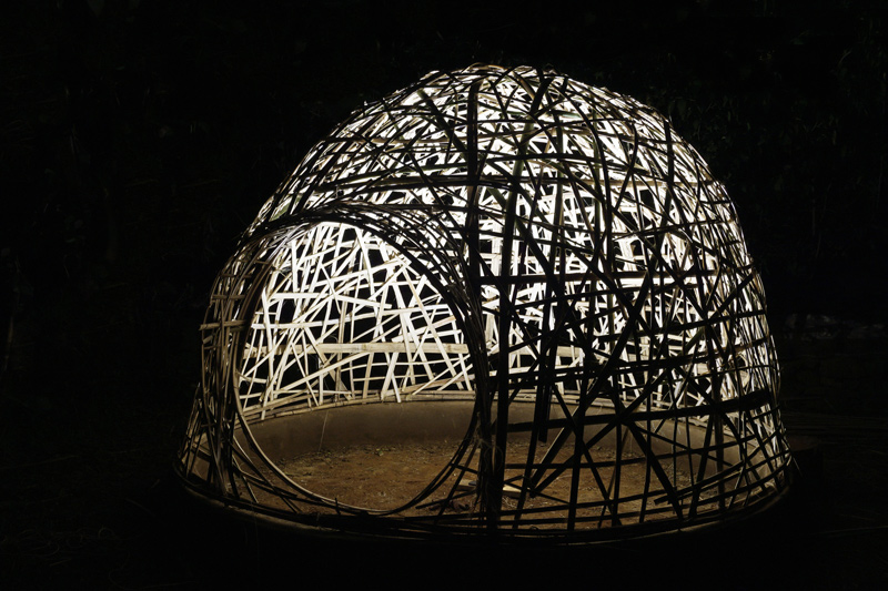 domo de faixas de bambu