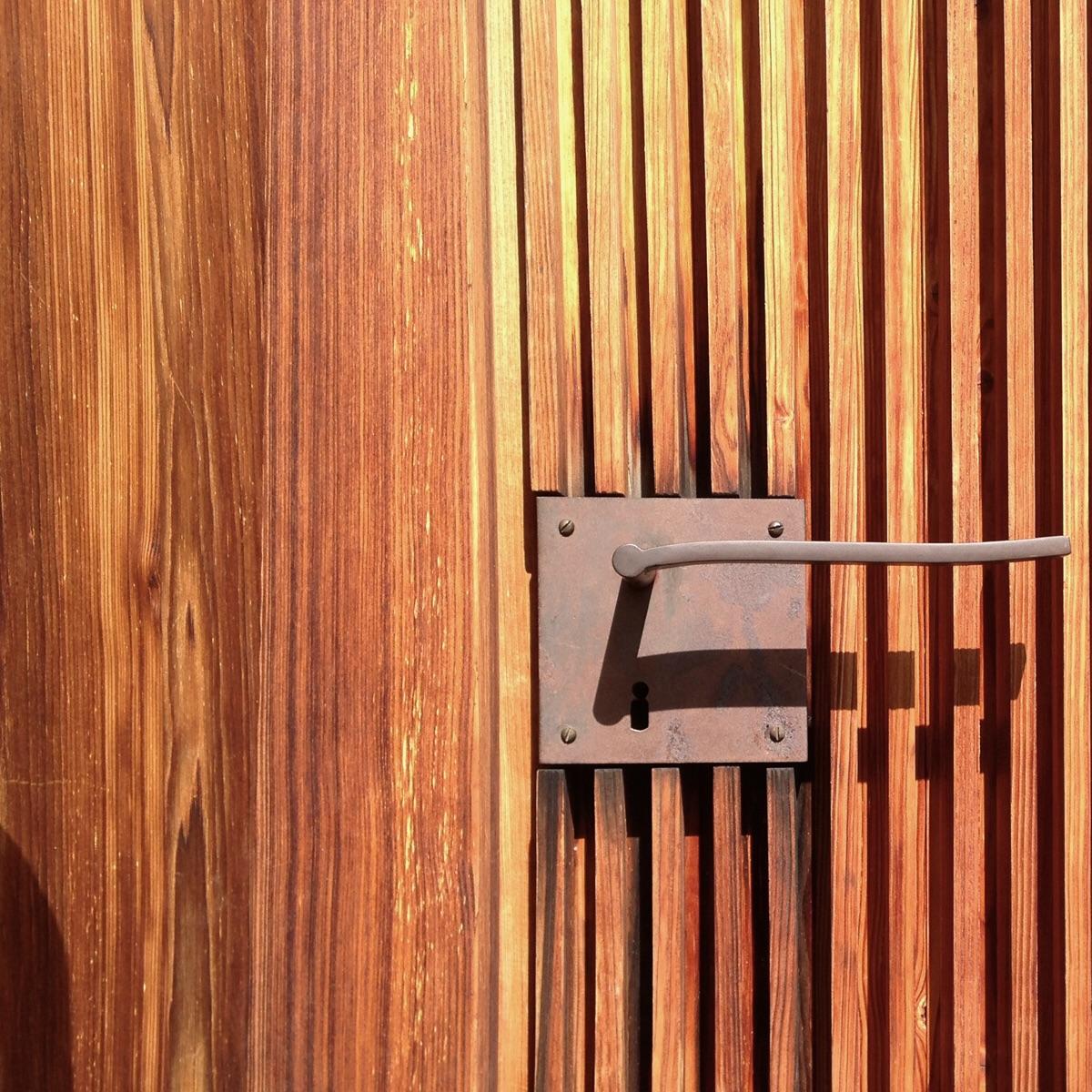 Door detail.  St. Benedict Chapel. Sumvitg Switzerland. ( Zumthor 1989)