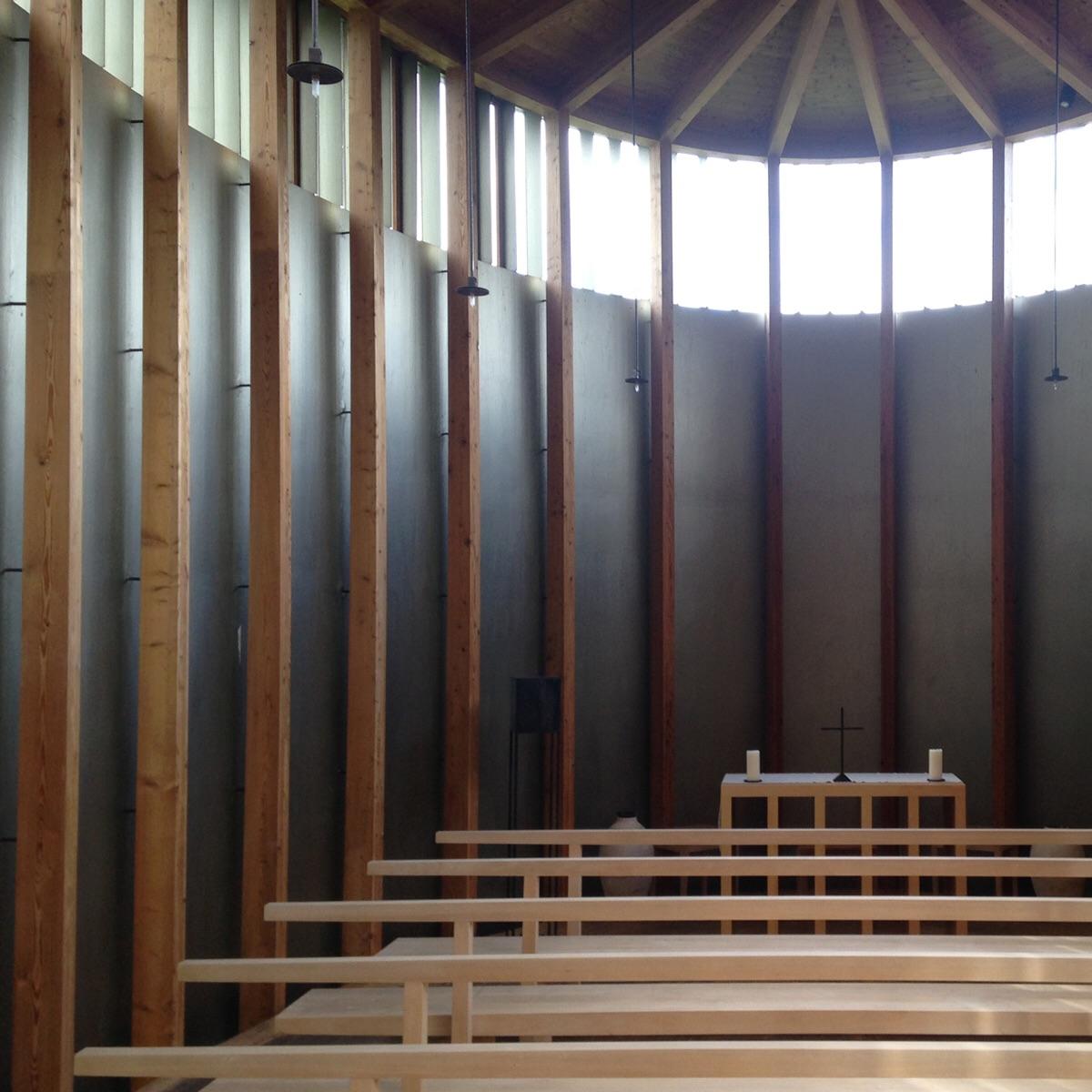 Interior.  St. Benedict Chapel. Sumvitg Switzerland. ( Zumthor 1989)