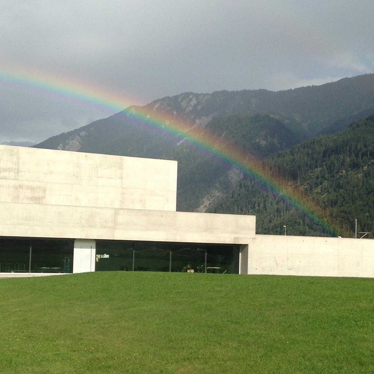 Rainbow over an elementary school. Switzerland. ( architect: unknown)