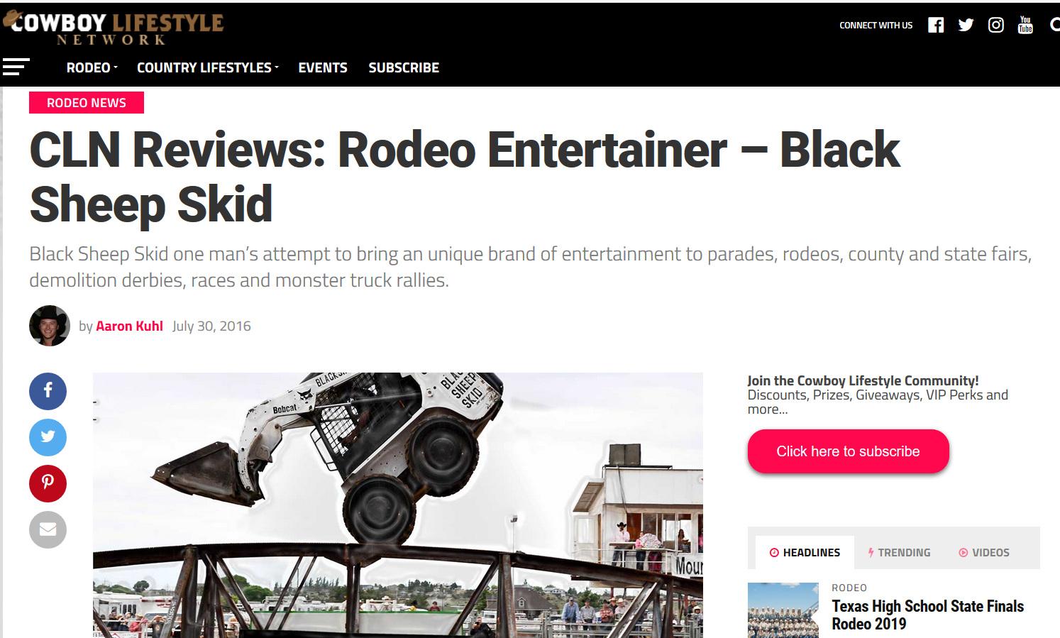 COWBOY LIFESTYLE NETWORK - Blacksheep Skid received this great review from Cowboy Lifestyle Network.