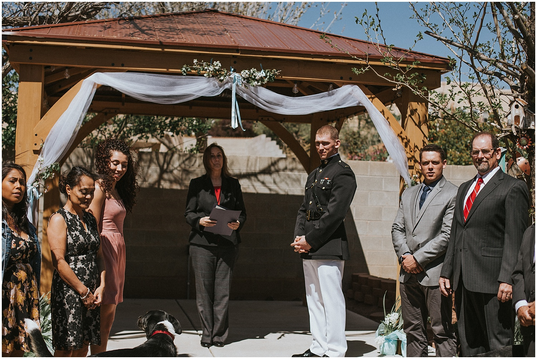 Ceremony Inspiration at this Backyard Albuquerque Elopement   Downtown Contemporary Art Studio   Albuquerque, New Mexico   Jasper K Photography