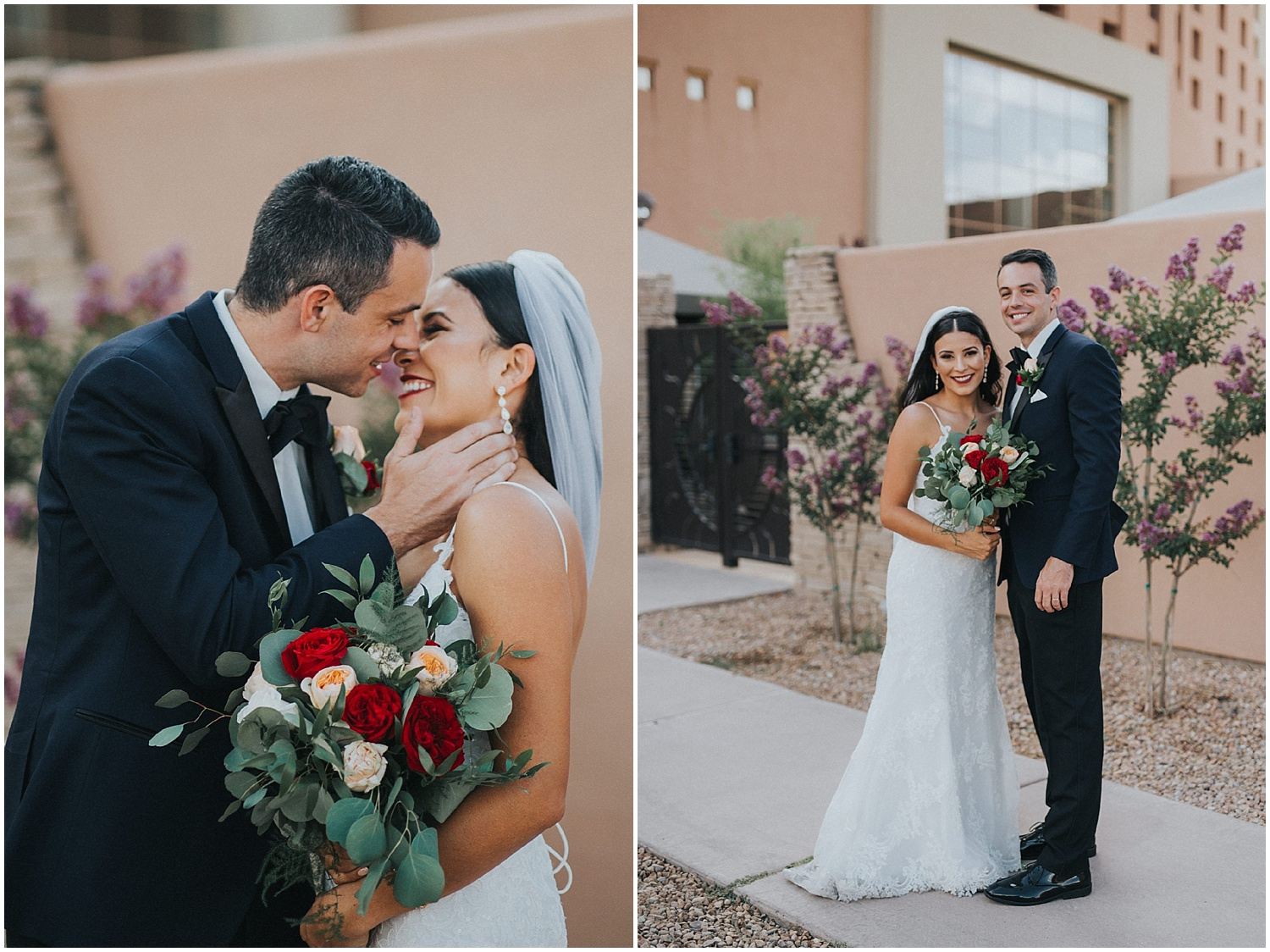 Jade + Steve exchanged their heartfelt vows at the San Felipe de Neri Church located on the north side of Old Town Plaza in Albuquerque, New Mexico. Both Jade + Steve said their ceremony was their favorite part of the day. Catholic ceremonies have such a special place in my heart + the architecture of San Felipe de Neri Church made for some spectacular family formals. We adventured around Old Town Plaza to take photos with their wedding party + then hopped on the party bus back to Sandia Resort & Casino to get the party started.