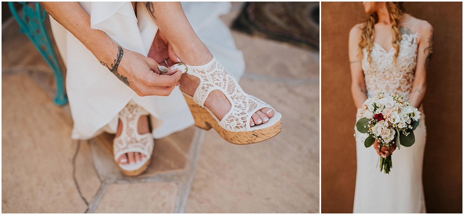 Nichole + Richard promised each other forever at Casas de Suenos Old Town Historic Inn in Albuquerque, New Mexico on a beautiful September day. The lush greenery from the gardens along with the neutral tones of the decor was fabulous.They chose a beautiful neutral color palette - sand, white, and a little sparkle. Casas de Suenos was the perfect venue choice because it had country written all over it