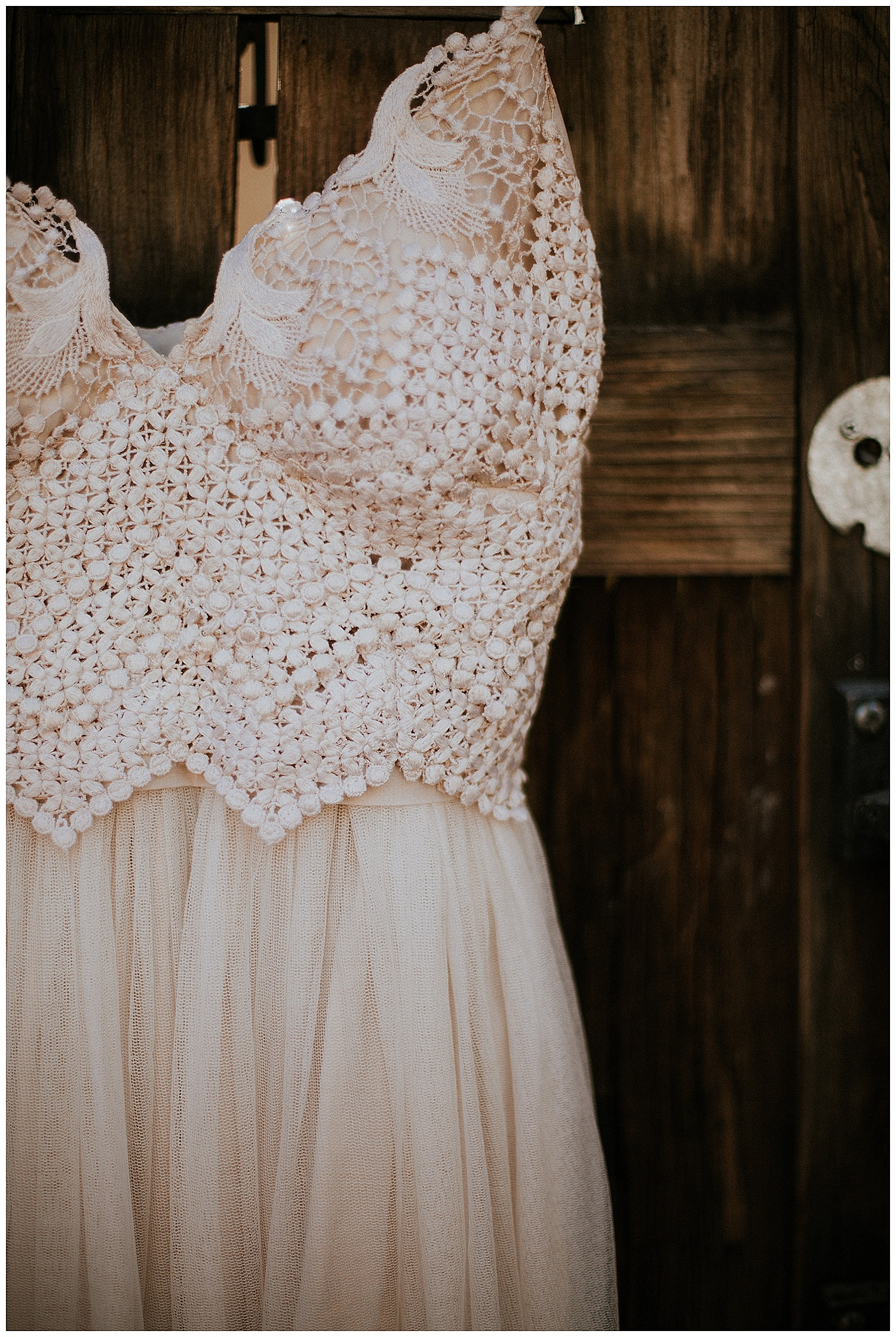 Malisa's wedding dress was made from her mother's wedding dress. The dress was purchased in the 80's for her mother by her great grandmother. Dawn Bacon (Santa Fe seamstress) reconstructed the material to create the bodice of the dress and the skirt was made new of silk chiffon.