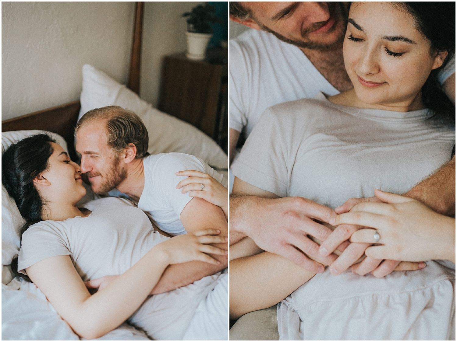 I captured Wyndra + Matt's engagement session on a rainy spring morning in downtown Albuquerque, New Mexico.Most of my engagement sessions are outdoors with the New Mexico landscapes as the backdrop, but Wyndra + Matt opted for a cozy in home session + I was ALL for it. Capturing their beautiful love story in their aesthetically gorgeous home with their cutie pie fur babies? YES PLEASE!..