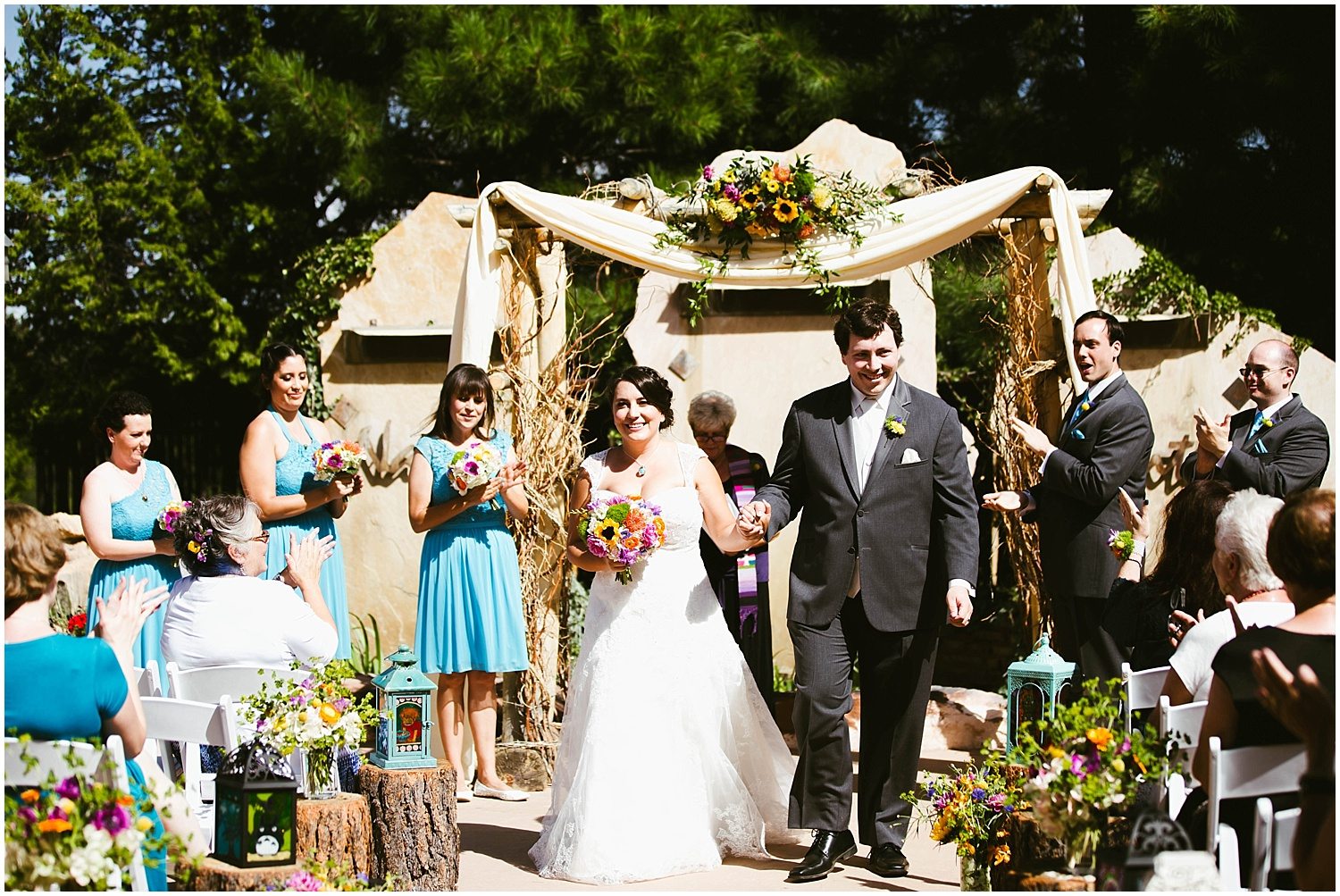 Ceremony Inspiration Photos by Jasper K Photography | Ryan proposed to Mallory at the Studio Ghibli Museum in Mitaka, Japan so it was fitting that their beautiful wedding day at Nature Pointe weddings in Tijeras, New Mexico was like a Miyazaki film come to life. A lot of planning went into their wedding. The magic of Miyazaki's films is unlike any other so incorporating the magnificence of his imagination into Mallory + Ryan's wedding day was a must. The intricacy of their wedding details were absolutely AMAZING!