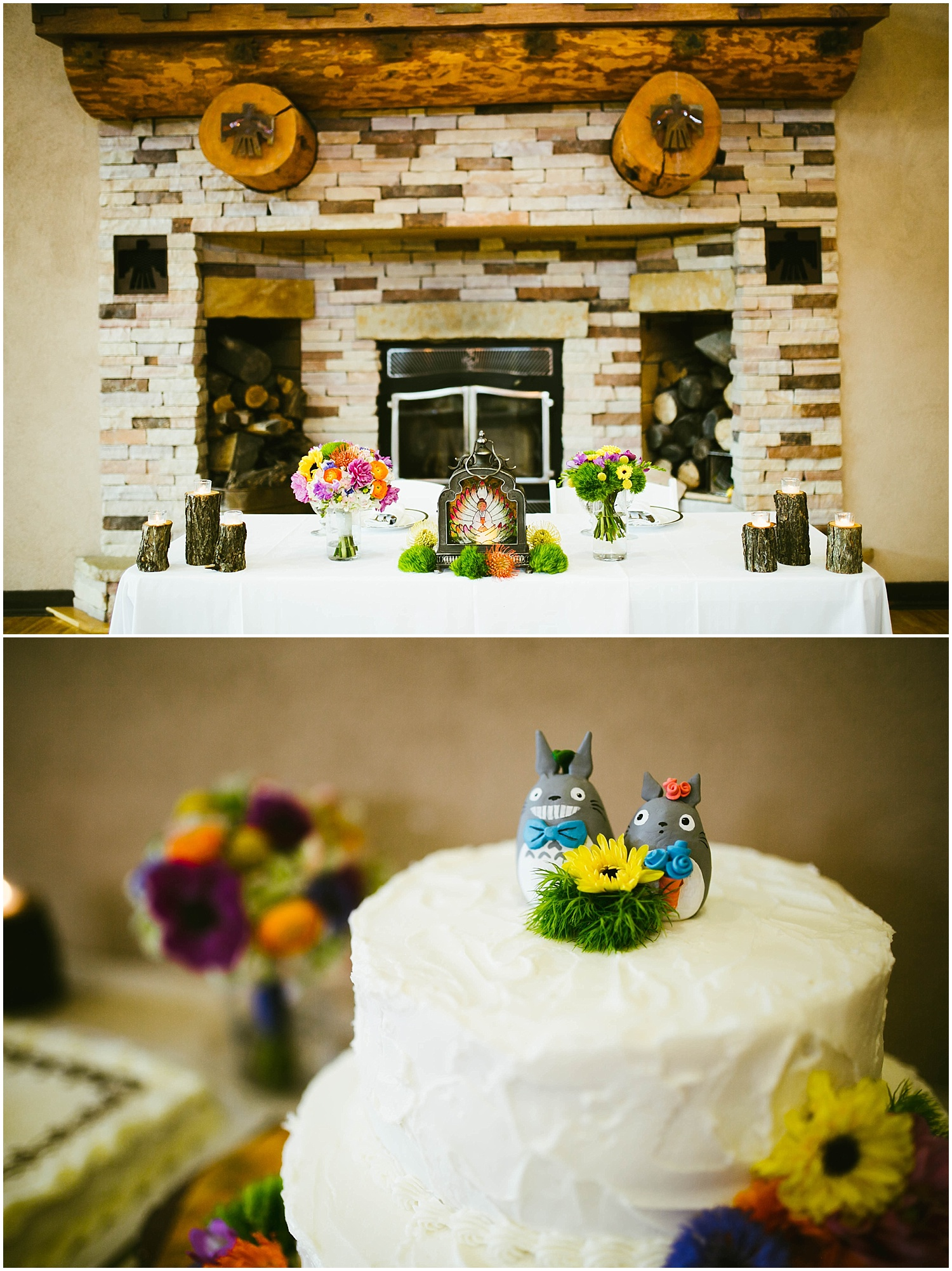 Studio Ghibli inspired Wedding Decor | Ryan proposed to Mallory at the Studio Ghibli Museum in Mitaka, Japan so it was fitting that their beautiful wedding day at Nature Pointe weddings in Tijeras, New Mexico was like a Miyazaki film come to life. A lot of planning went into their wedding. The magic of Miyazaki's films is unlike any other so incorporating the magnificence of his imagination into Mallory + Ryan's wedding day was a must. The intricacy of their wedding details were absolutely AMAZING!| Jasper K Photography