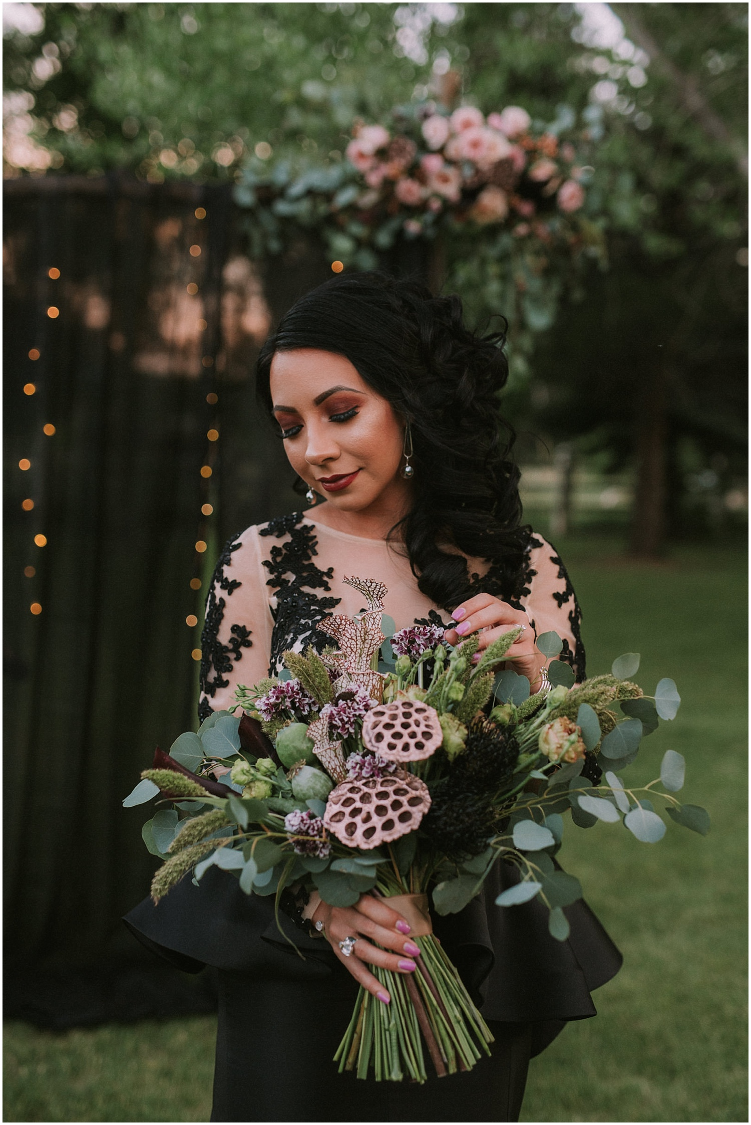 The dark and moody color palette was paired perfectly with dusty pink accents. The Sangre de Cristo mountains was the perfect backdrop for this stellar shoot. Danessa from Black Bow Events, LLC set up our epic styled shoot in the backyard of her family's residence in the beautiful mountain town of Questa, New Mexico which is north of my hometown of Taos, New Mexico. Our goal is to bring more wedding inspiration to northern New Mexico and showcase the vast possibilities that these enchanting areas has to offer.