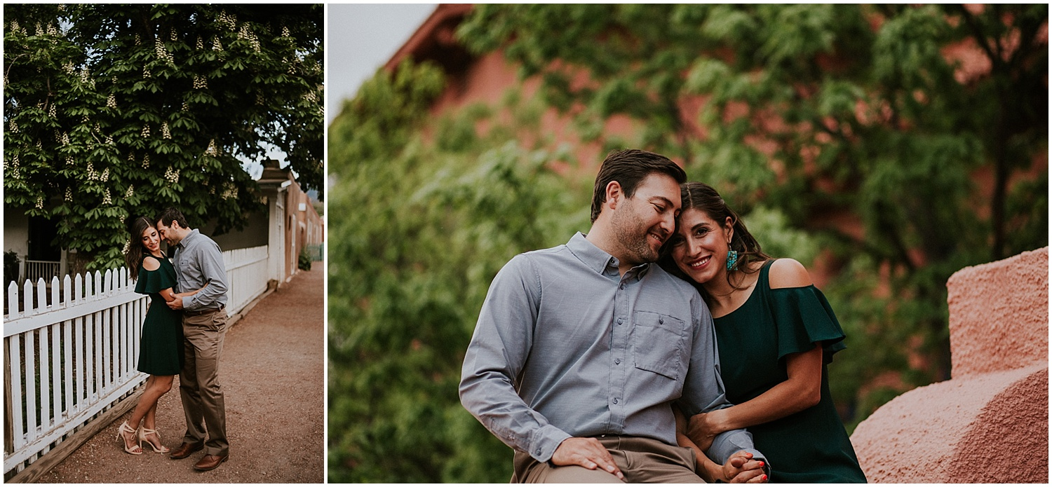"""When it came to choosing a location for their engagement photos, it was an easy choice to start our session with the beautiful architecture of the Scottish Rite Temple in Santa Fe and then exploring to Canyon Road. Juan and Aurora like exploring Santa Fe, and pretending to be """"Santa Fancy"""" so that is exactly what we did. Canyon Road was pleasantly calm the time of the year so it was easy for us to get all """"Canyon Road Fancy"""" for their beautiful Santa Fe engagement photos."""