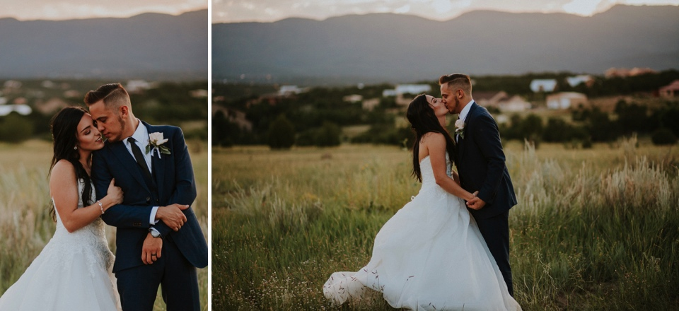 Stephanie and Greg tied the knot on August 18th, 2018 in the backyard of her sister's house in Sandia Park just outside of Albuquerque, New Mexico. They chose to have their wedding at Stephanie's sister's house in the mountains because they love the natural feel of being outside to appreciate Gods creation. The wedding decor color palette was inspired by blues and nude tones.
