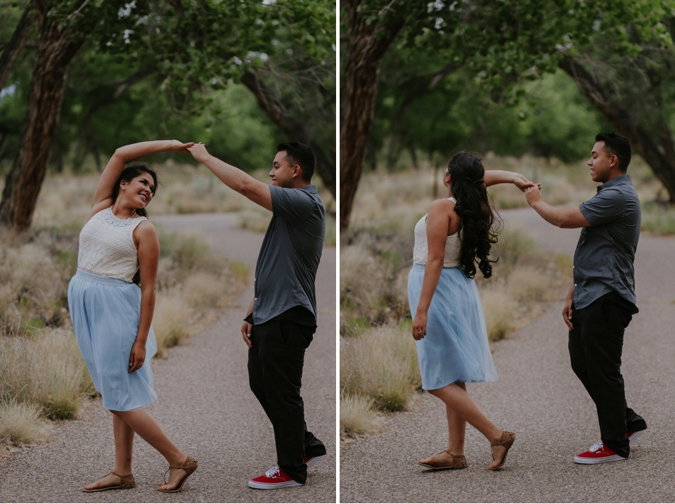 I had a blast capturing Isamar and Rafael's Albuquerque engagement photos on a beautiful July day. The love Isa and Rafy have for one another is incredible and having the beautiful Albuquerque, New Mexico landscape as a backdrop was perfect! The Albuquerque bosque is vast and has so many awesome areas to capture beautiful New Mexico engagement photos. Isa's light blue skirt combined with the beauty of Albuquerque, New Mexico really made for outstanding engagement photo inspiration!