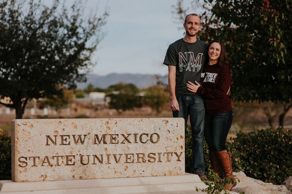 The first part of their engagement session began in Las Cruces, New Mexico at  New Mexico State University  where they both attended. We explored through the campus to capture their cuteness and school pride (Go Aggies!). They both rocked their Aggies gear and looked freaking adorable while doing so.