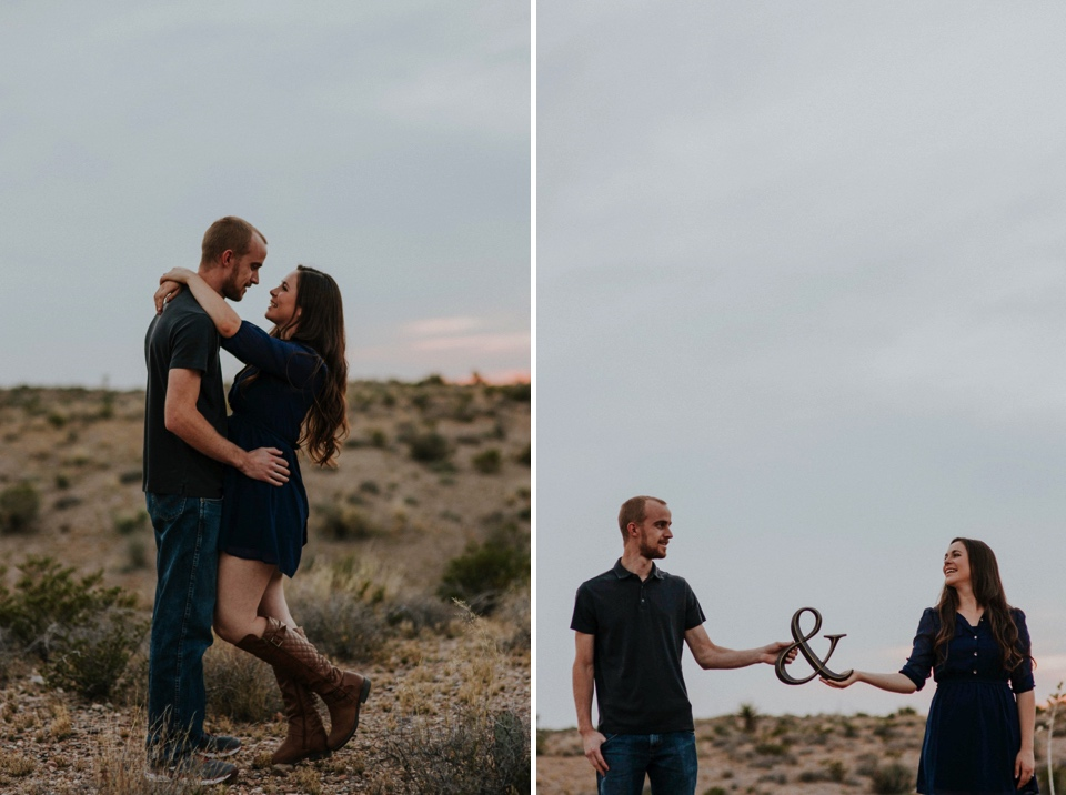 We then headed to the Organ Mountains in Las Cruces, NM to do a quick outfit change and capture the rest of their love fest. Kari's knit sweater with her blue dress was SUPER cute paired with Brandon's polo and jeans. The sun set just in time to capture the beauty of the Organ Mountains and the love between Kari and Brandon.