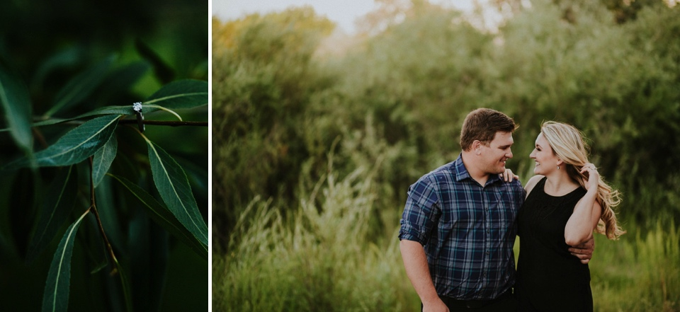 Emily and Ben are the definition of TOTES ADORBS. I love the engagement outfits they chose for their Colorado engagement photos at Cattails Golf Course in Alamosa, Colorado as well as the cute sign and champagne for fun poppin' bottle photos! The greenery of the golf course plus the beautiful Colorado light made for stunning engagement photo inspiration.
