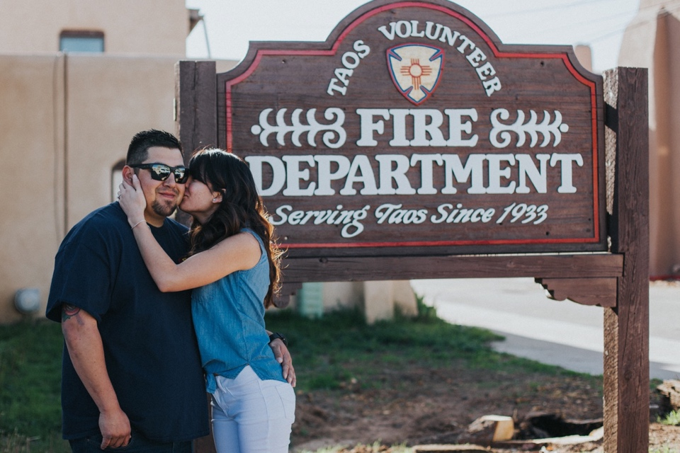 Once the sun rose completely, we headed over to the Taos Fire Department for an outfit change as well as change of scenery for the next part of Daniel and Jeneas engagement session. These two truly brought the FIIIIIRE for their rad engagement session. Shooting amongst the fire trucks and in the fire station itself was awesome! The outfits they chose and being able to incorporate more of Daniel's firefighter gear made this the hottest engagement sesh ever!!