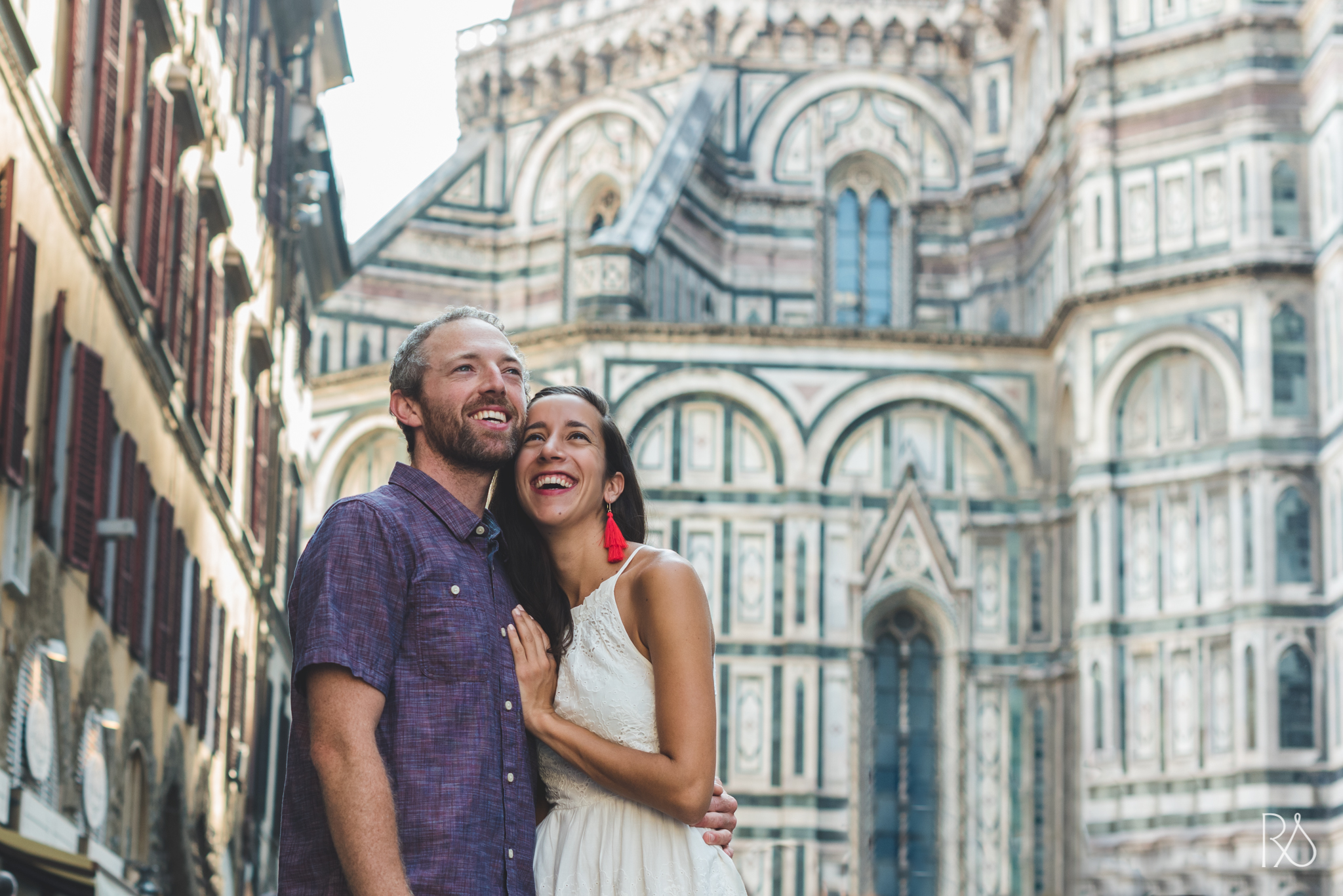 An american couple at the Florence Duomo