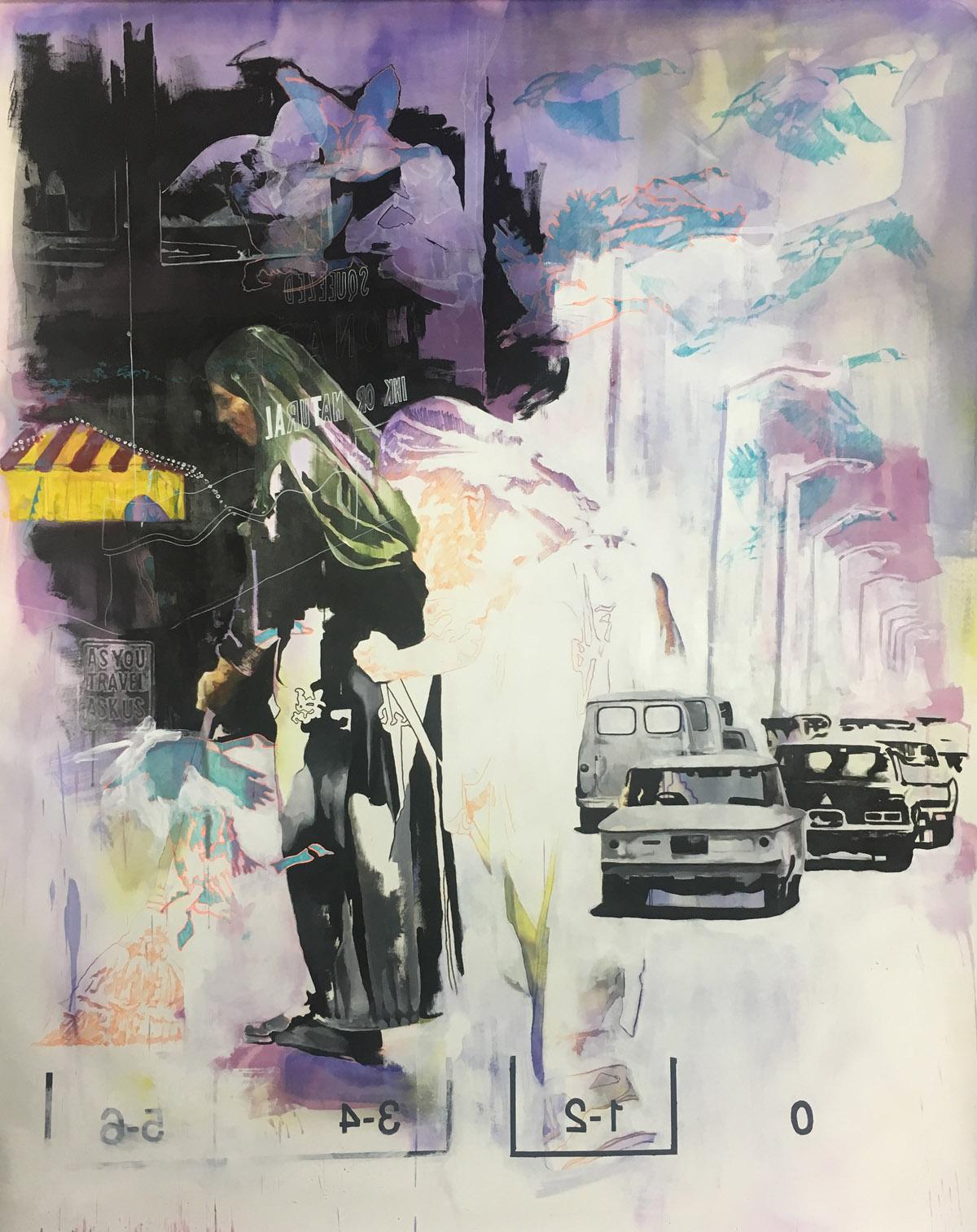 "Sour Grapes, Acrylic on Evolon, 96"" x 72"", 2016."