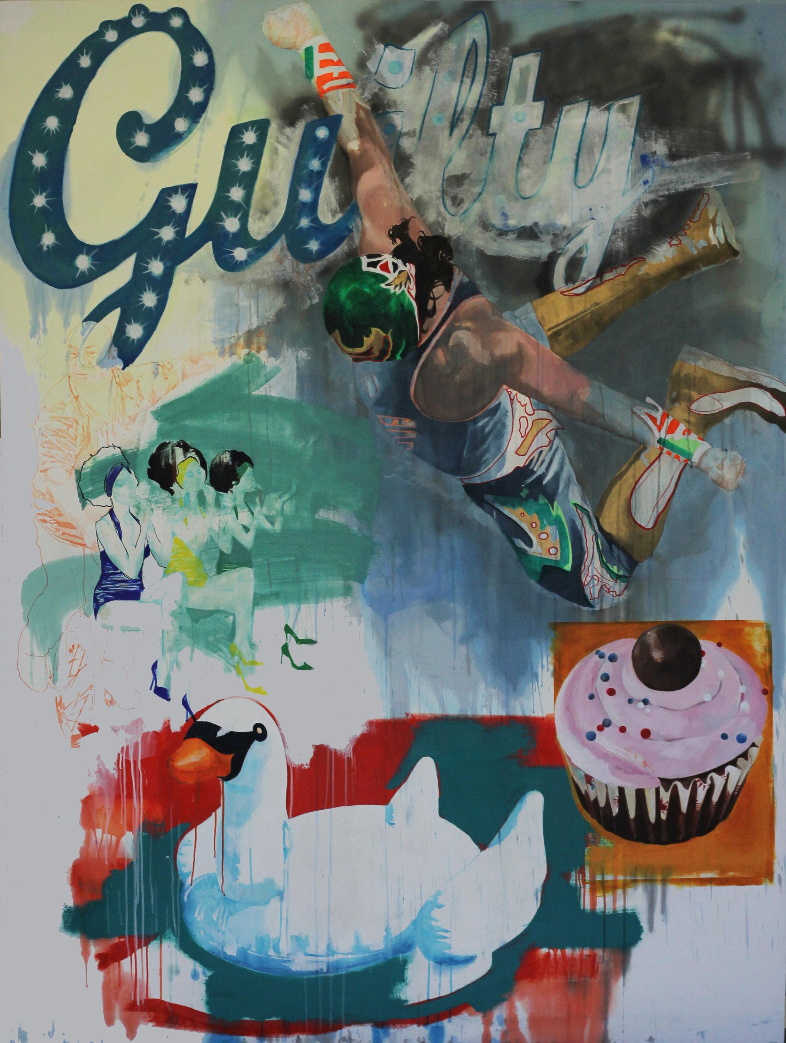 """Kangaroo Court, Acrylic and Spray Paint on Evolon, 96"""" x 72"""", 2017."""