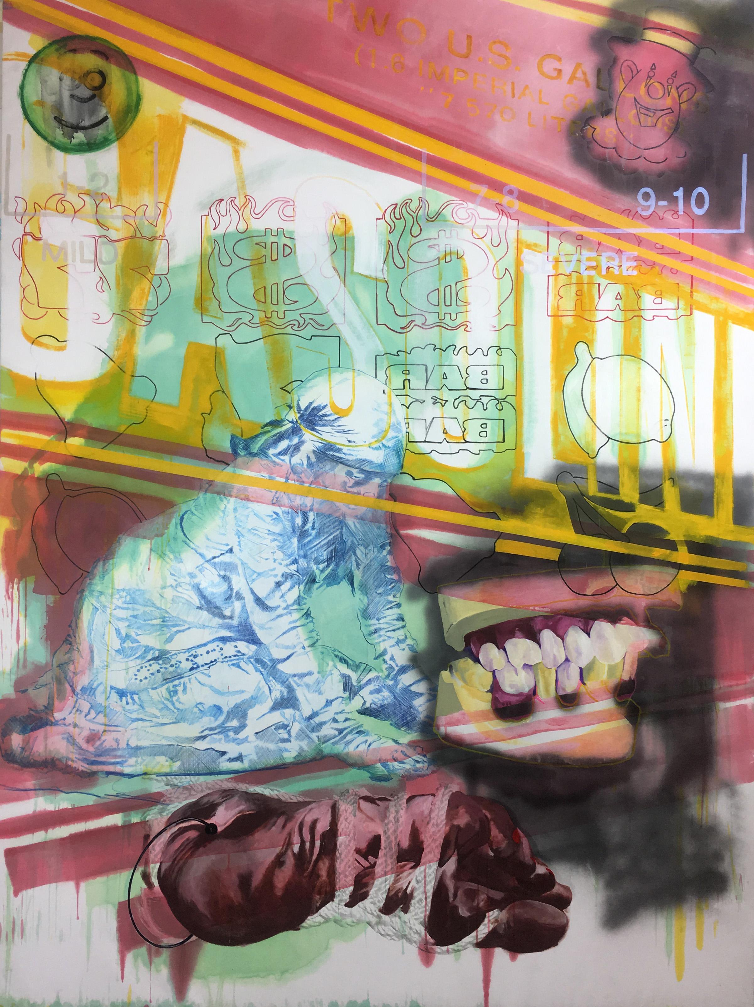 """Cutting Ties, Acrylic and Spray Paint on Evolon, 96"""" x 72"""", 2017."""