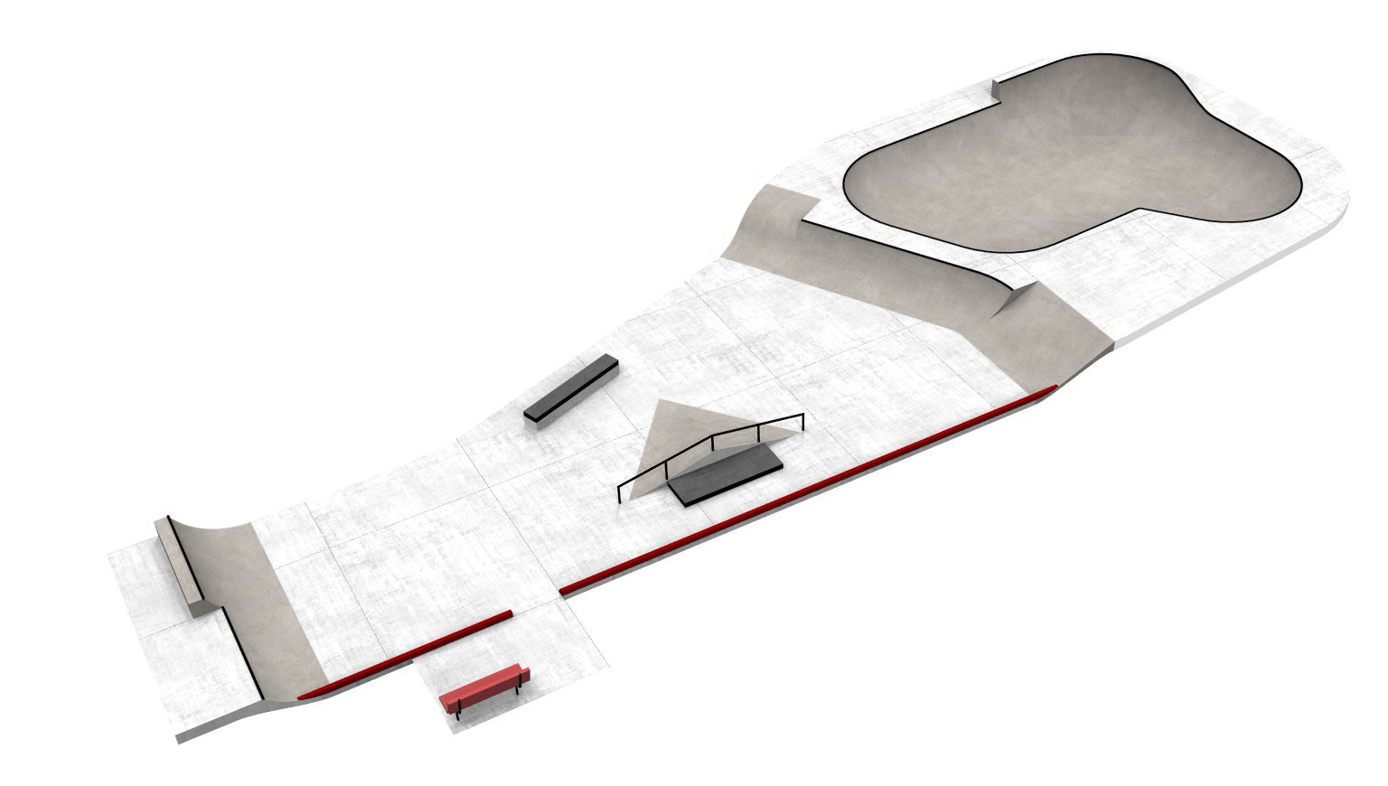 The skate park as it is currently designed.
